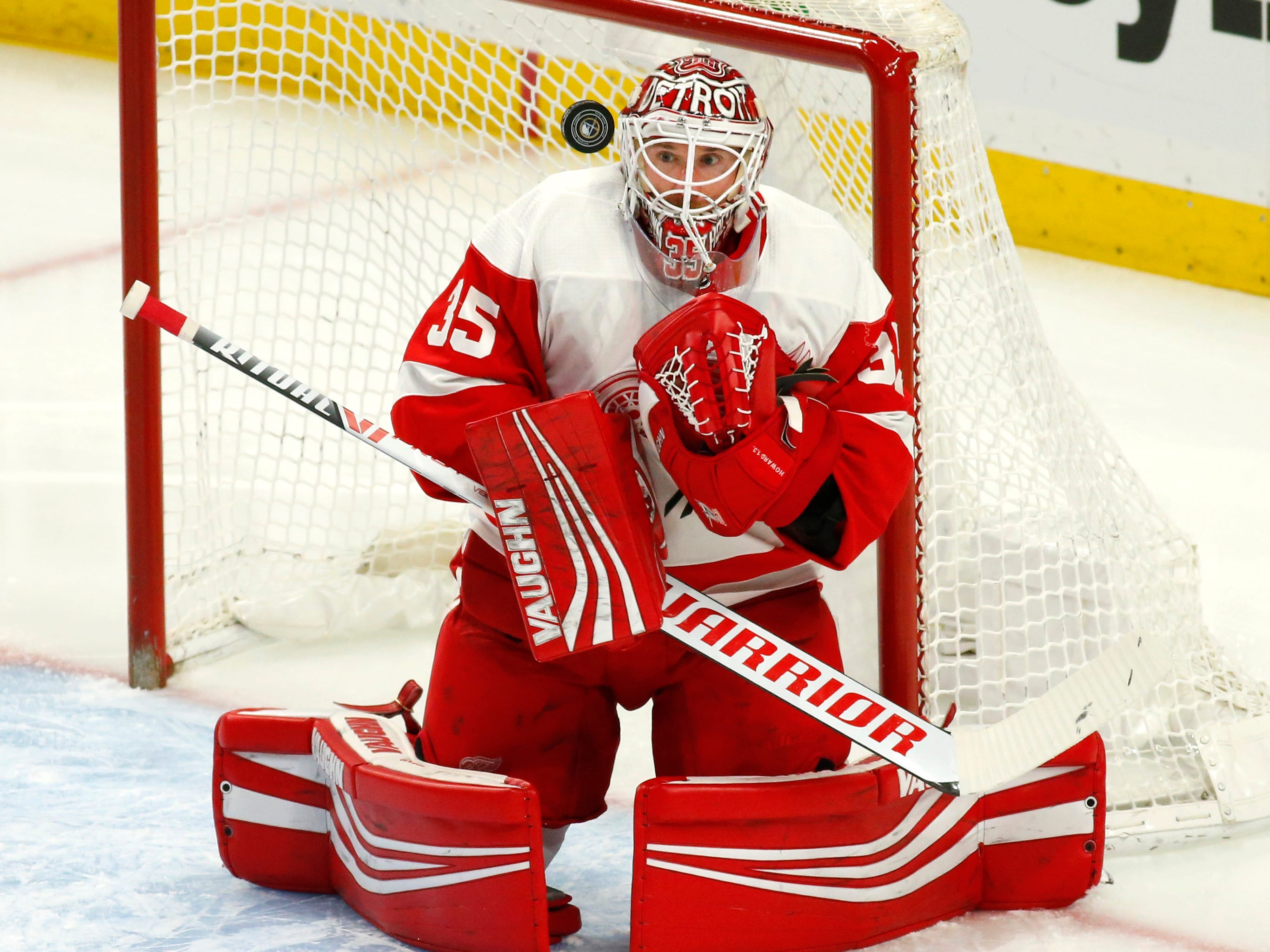 Red Wings goalie Jimmy Howard makes a save during the first period on Saturday, Feb. 9, 2019, in Buffalo N.Y.