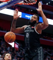 Detroit Pistons center Andre Drummond dunks during the first half against the New York Knicks, Friday, Feb. 8, 2019, in Detroit.