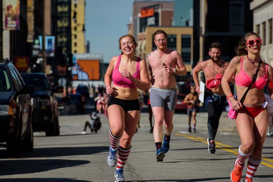 Hundreds of runners enjoyed the sunshine and 20 degree temperaturn as the Detroit's Cupid Undie Run fundraiser returned to the Fillmore February 9, 2019. Proceeds benefitted the Children's Tumor foundation.