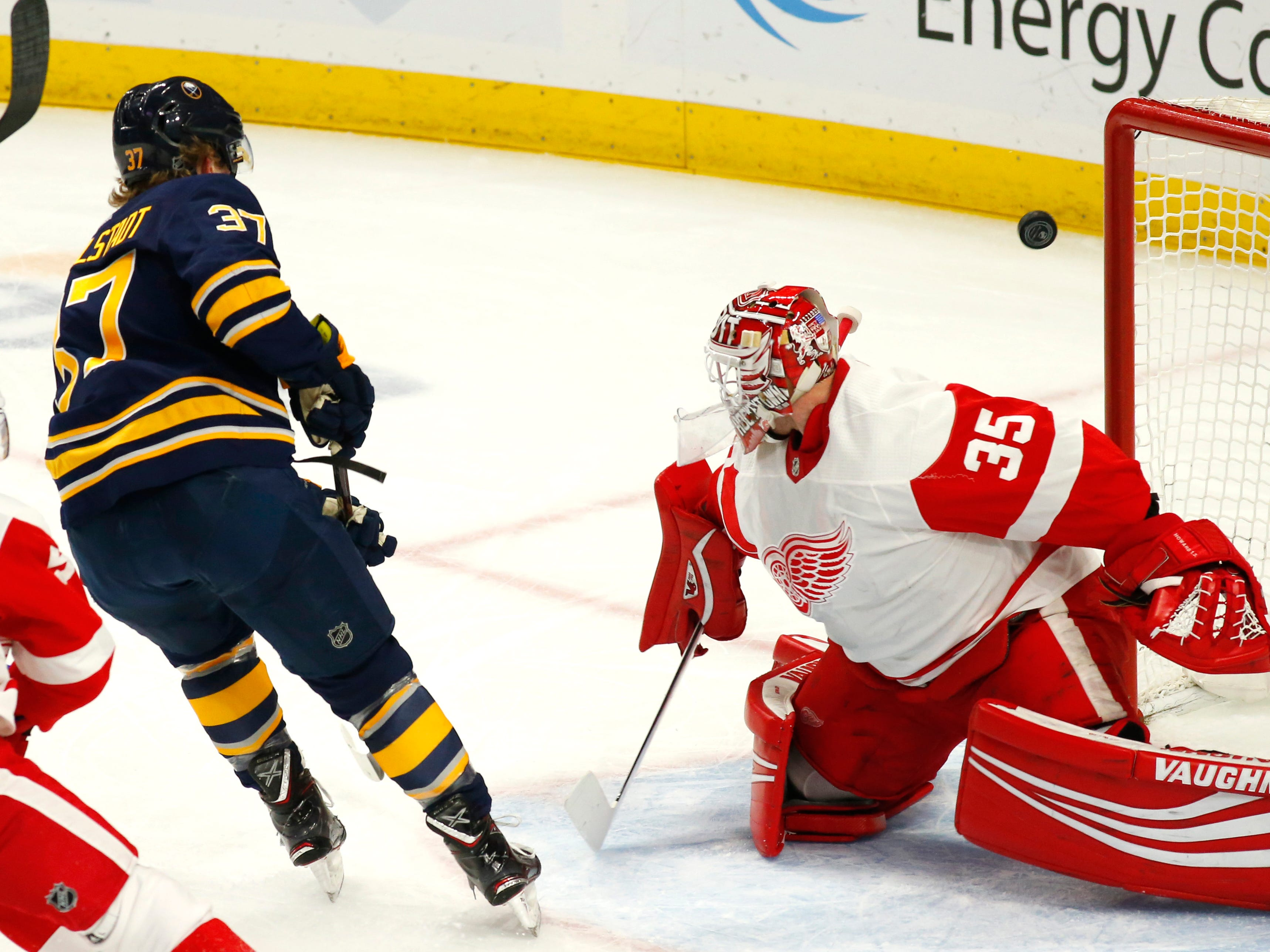 Sabres forward Casey Mittelstadt shoots the puck wide of Red Wings goalie Jimmy Howard during the first period on Saturday, Feb. 9, 2019, in Buffalo N.Y.