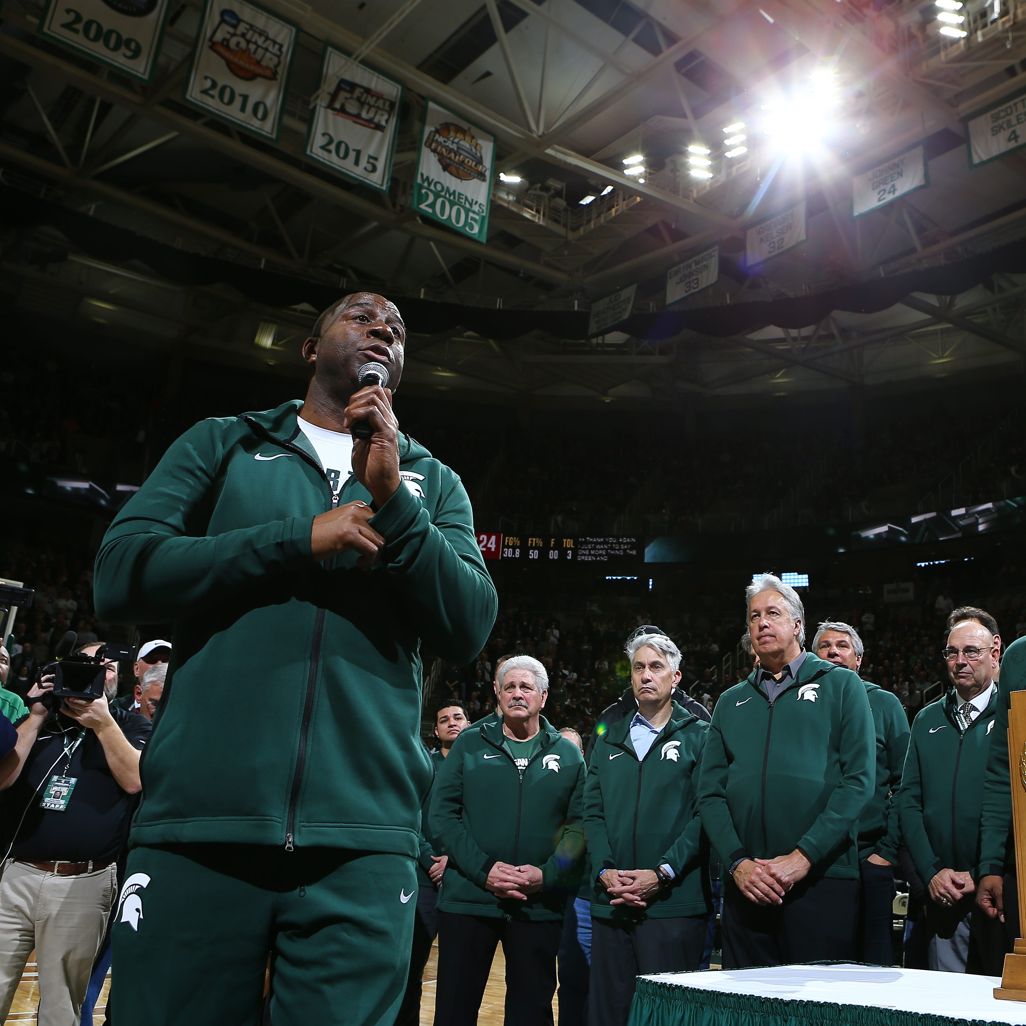 Magic Johnson urges Michigan State to 'support each other' in tough times