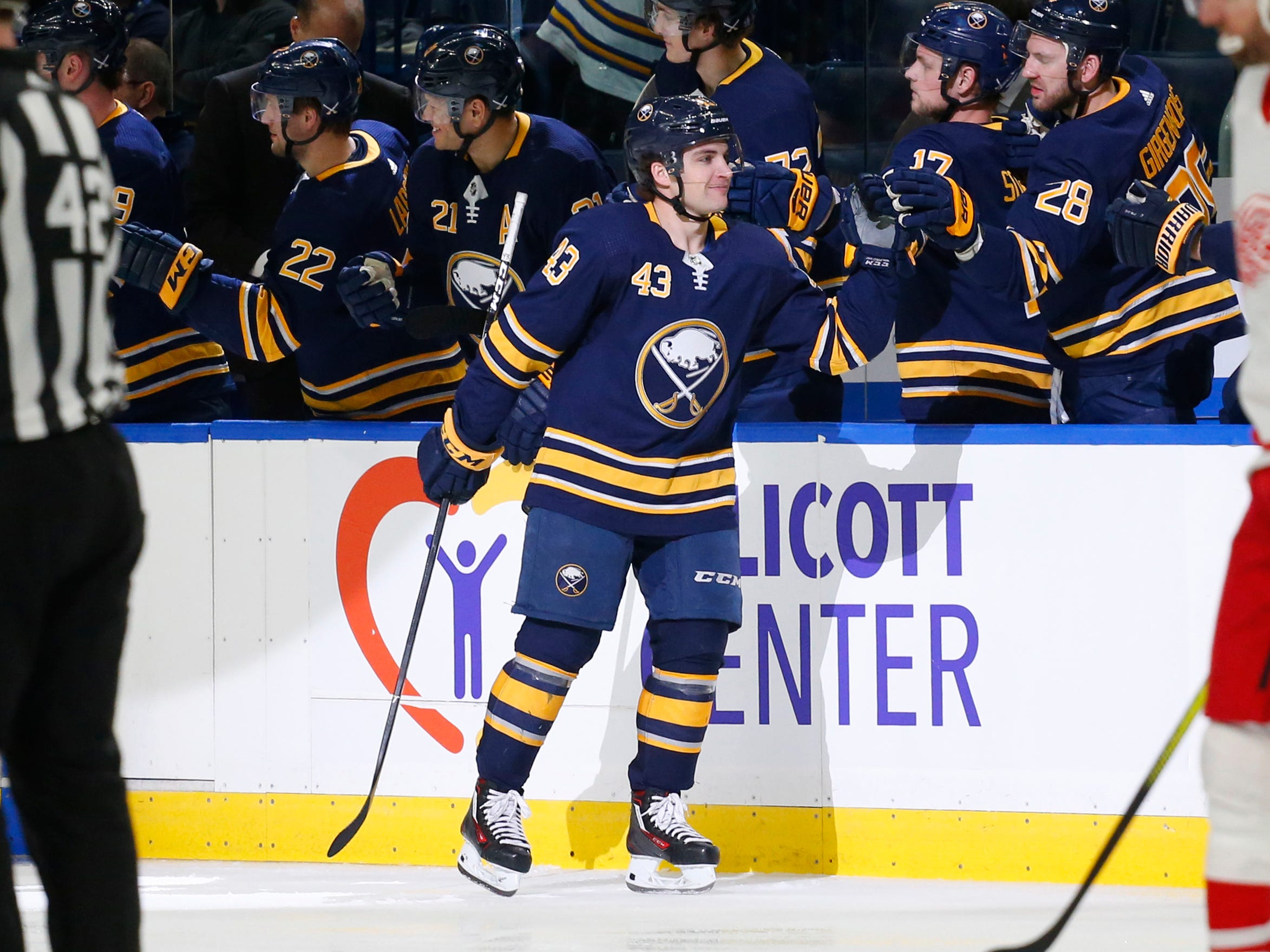 Buffalo Sabres forward Conor Sheary (43) celebrates his goal during the second period of an NHL hockey game against the Detroit Red Wings, Saturday, Feb. 9, 2019, in Buffalo N.Y. (AP Photo/Jeffrey T. Barnes)