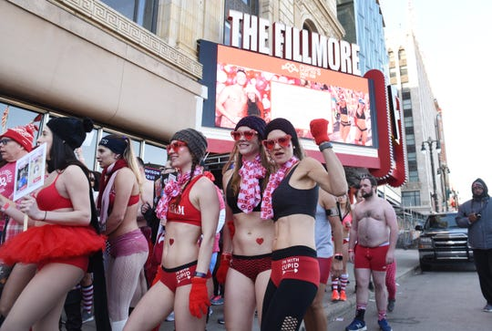 Participants prepare to start their run outside The Fillmore Detroit for Cupid's Undie Run, a fundraiser to find a cure for neurofibromatosis, on Saturday, February 9, 2019.