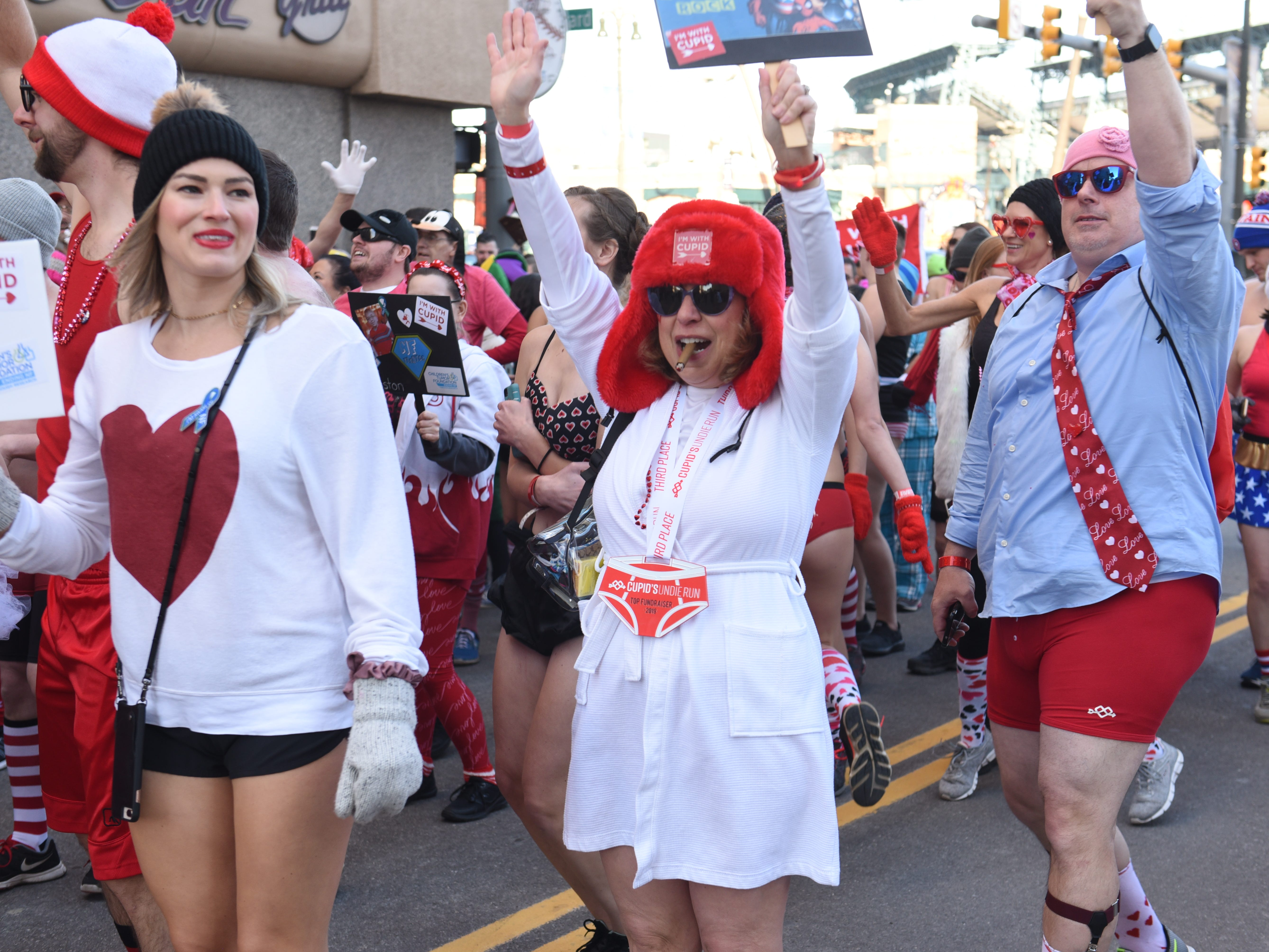 Participants gather outiside The Fillmore Detroit for the start of Cupid's Undie Run.