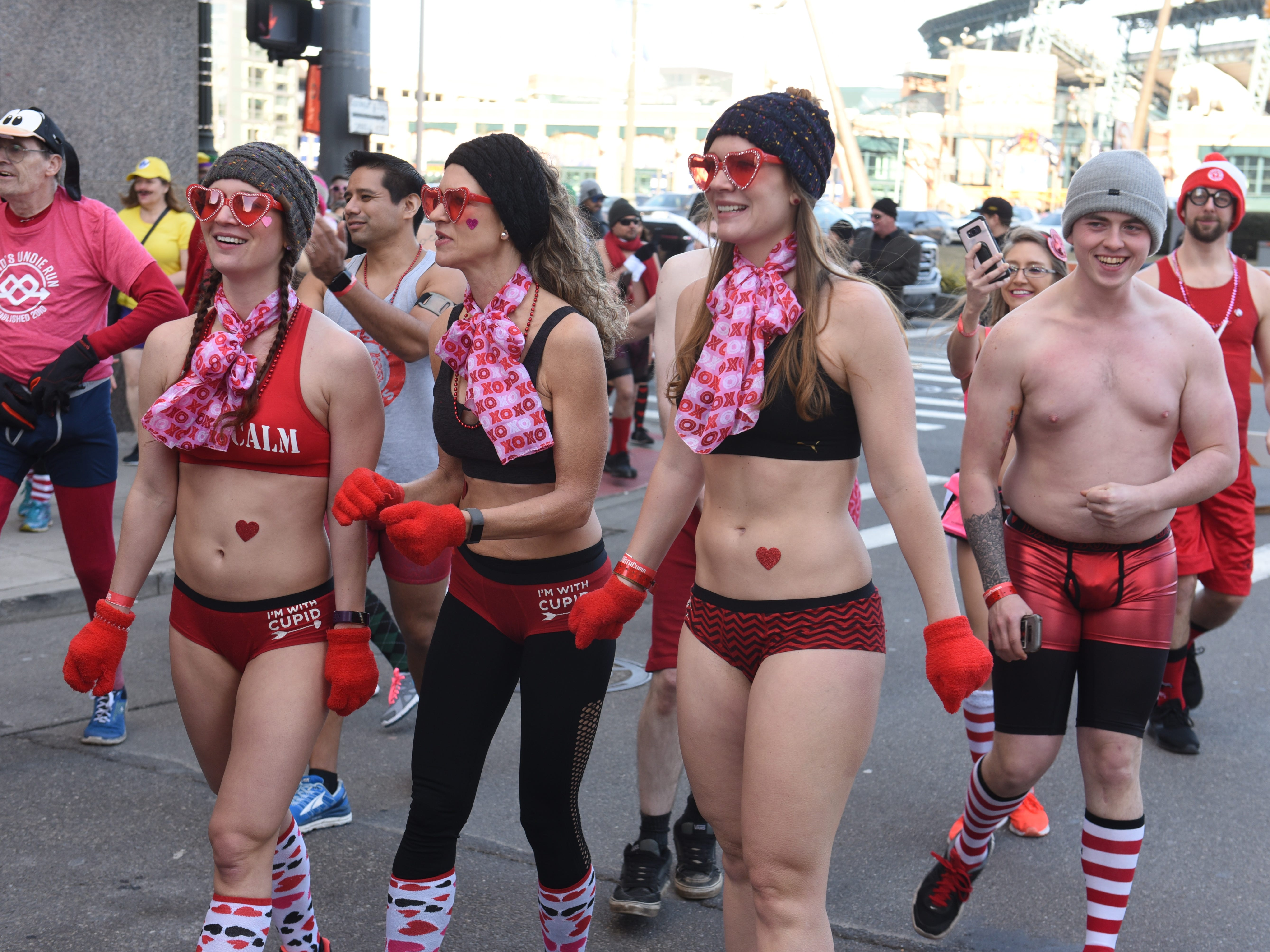 Participants brave the cold weather outside The Fillmore Detroit for Cupid's Undie Run, a fundraiser to find a cure for neurofibromatosis.