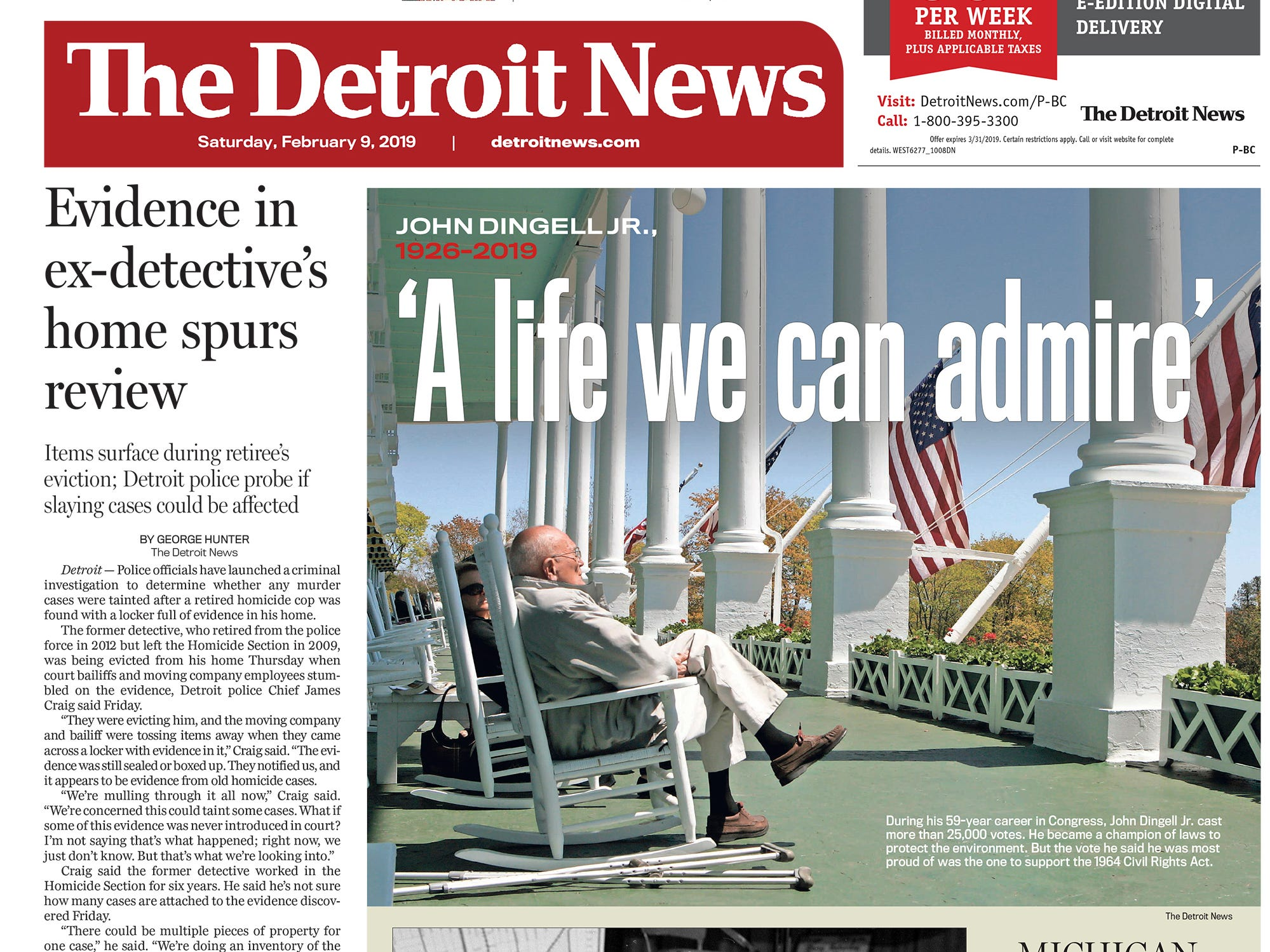 The front page of the Detroit News on Saturday, February 9, 2019.
