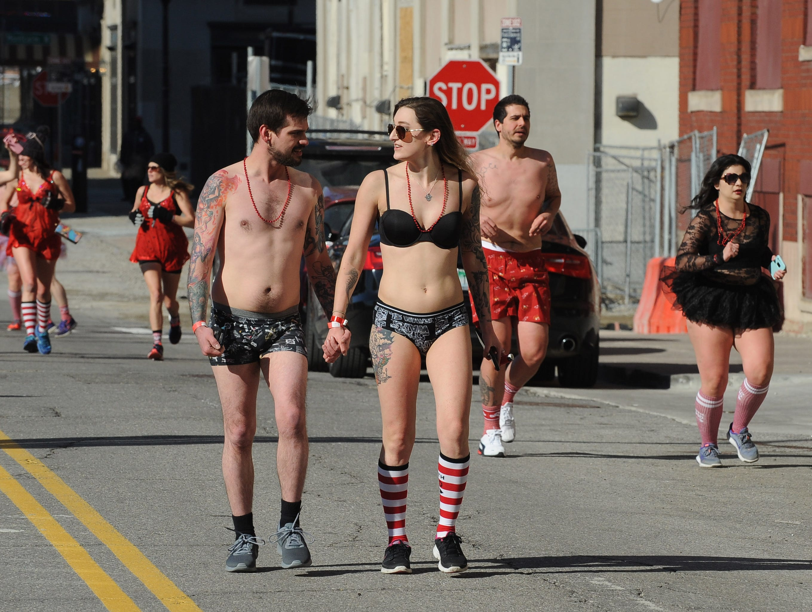 Cold weather didn't stop  people from hitting the streets around the The Fillmore Detroit for Cupid's Undie Run.