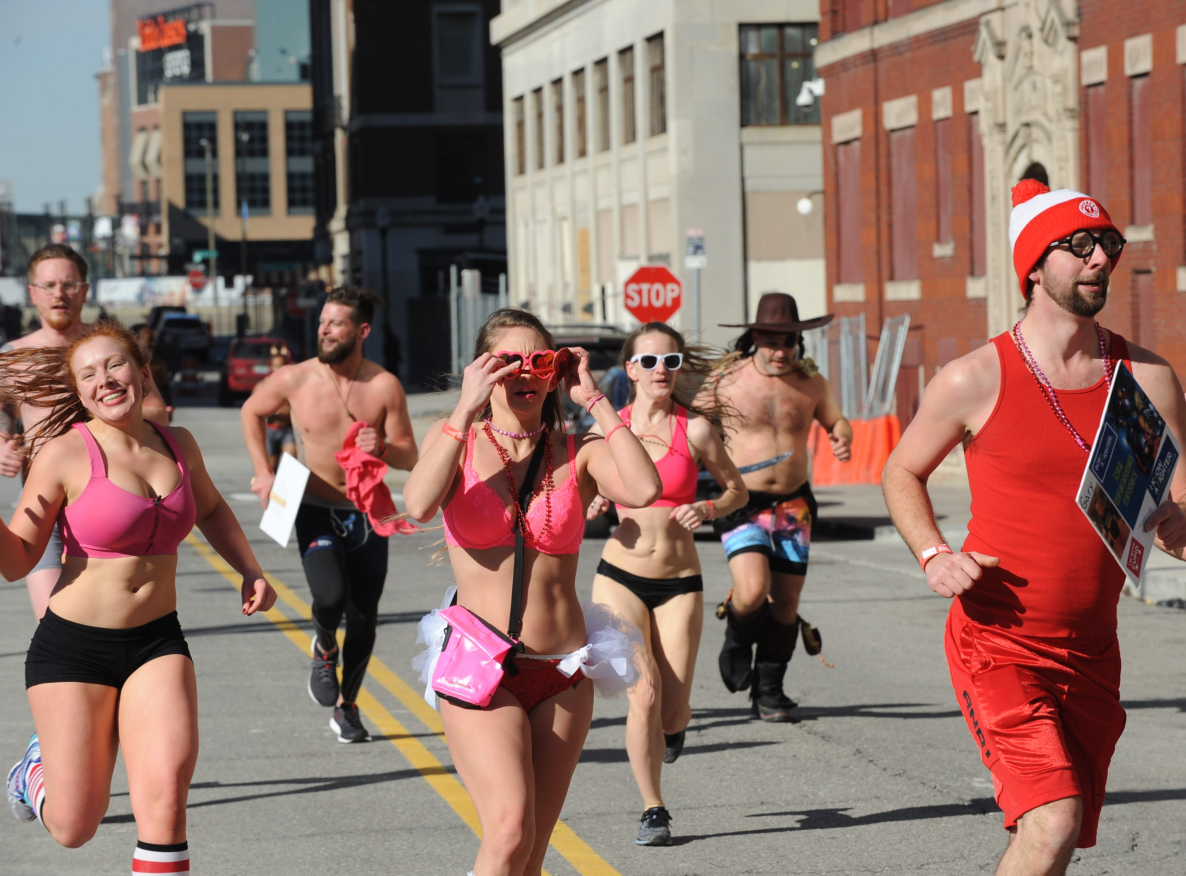Participants hit the streets around the The Fillmore Detroit for Cupid's Undie Run on Saturday, February 9, 2019.