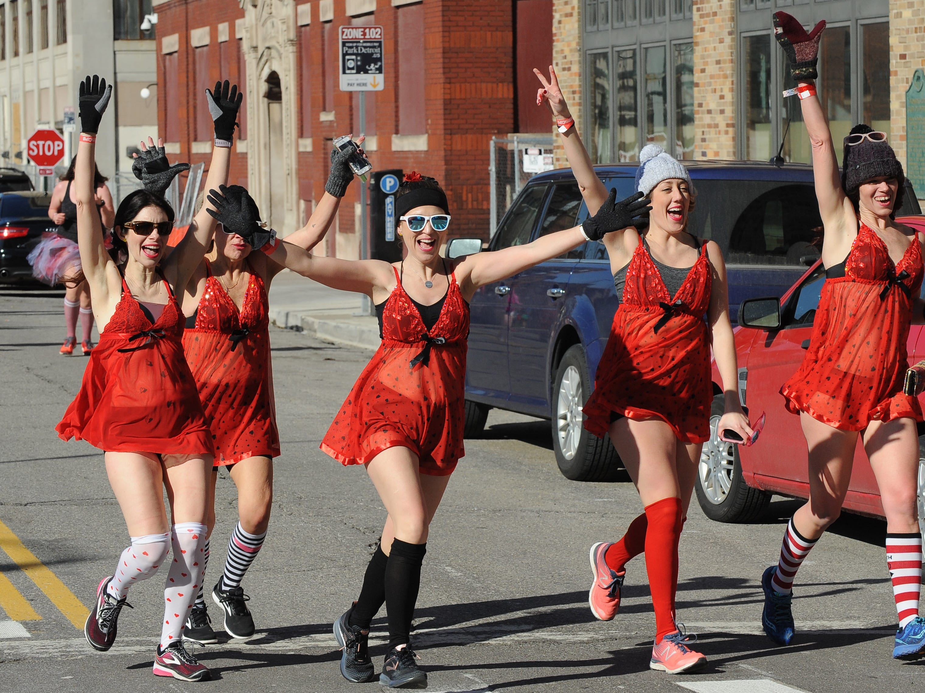 Participants hit the streets around the The Fillmore Detroit for CupidÕs Undie Run, a fundraiser to find a cure for neurofibromatosis, on Saturday, February 9, 2019.