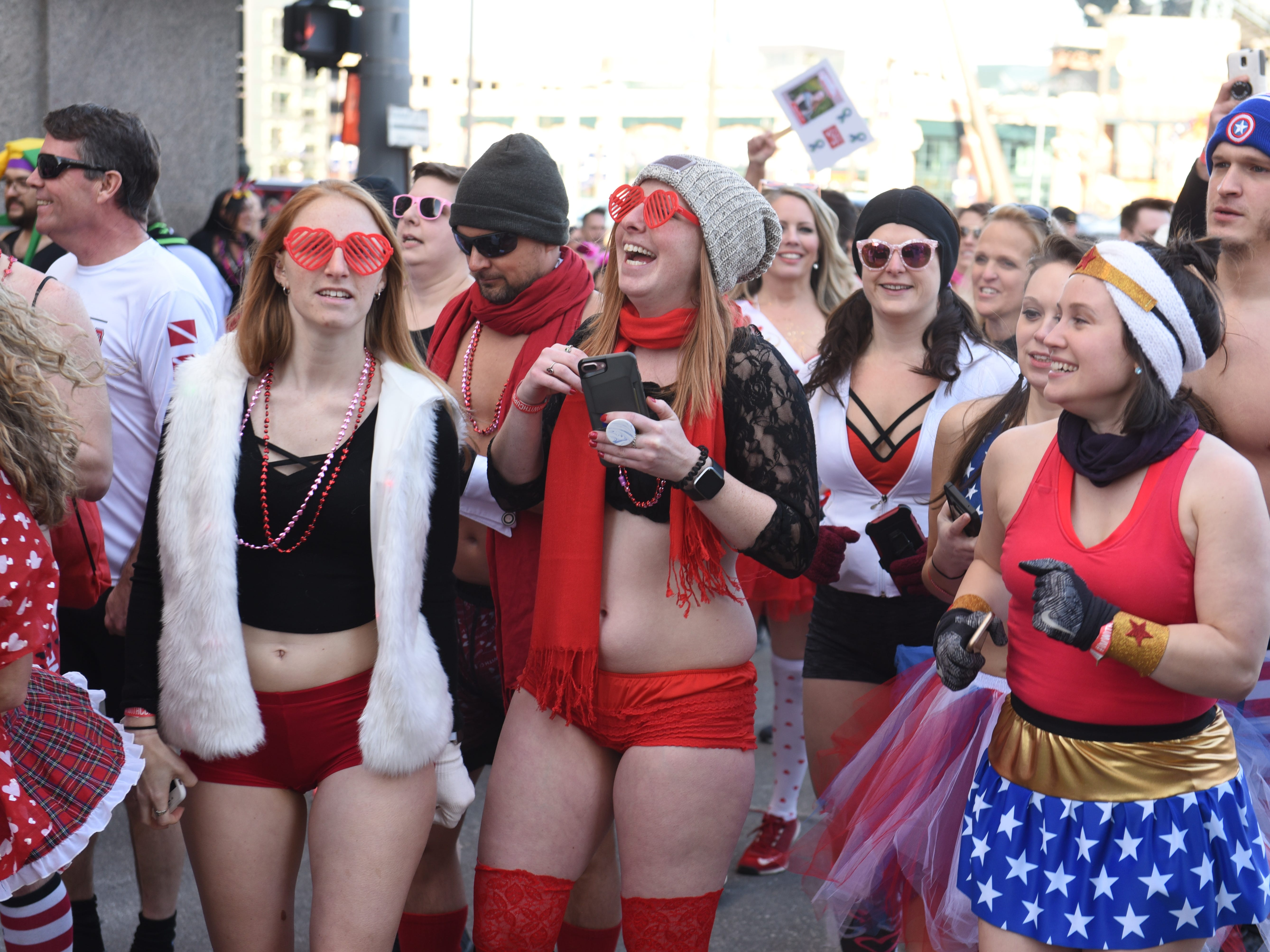 Participants prepare outside The Fillmore Detroit for Cupid's Undie Run.