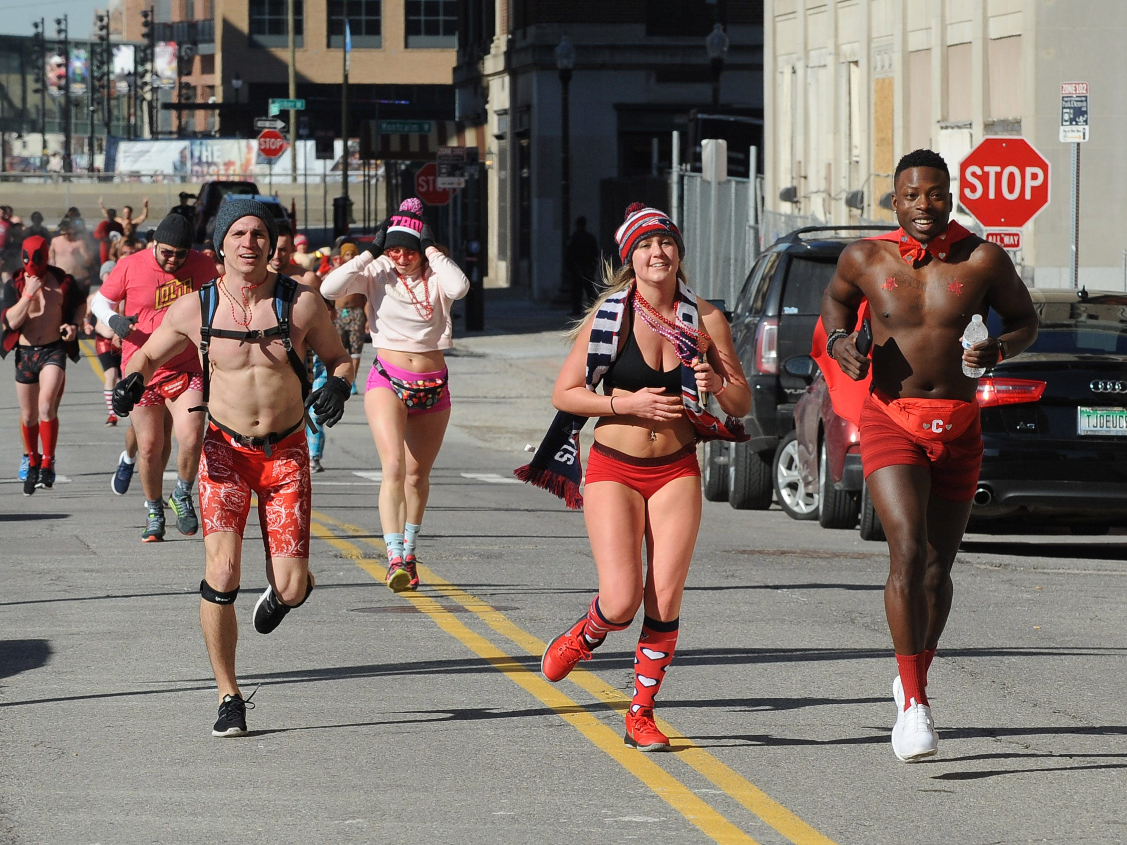 Participants hit the streets around the The Fillmore Detroit for Cupid's Undie Run, a fundraiser to find a cure for neurofibromatosis, on Saturday, February 9, 2019.