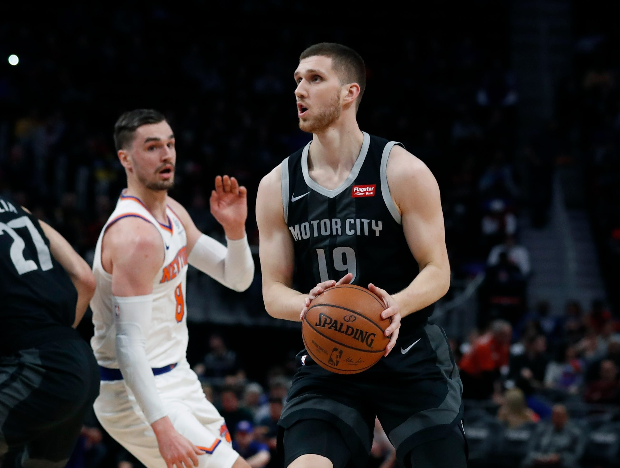 Detroit Pistons guard Sviatoslav Mykhailiuk looks to shoot during the first half of the team's NBA basketball game against the New York Knicks, Friday, Feb. 8, 2019, in Detroit.