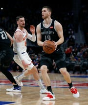 Detroit Pistons guard Sviatoslav Mykhailiuk looks to shoot during the first half of the game against the New York Knicks on Friday night.
