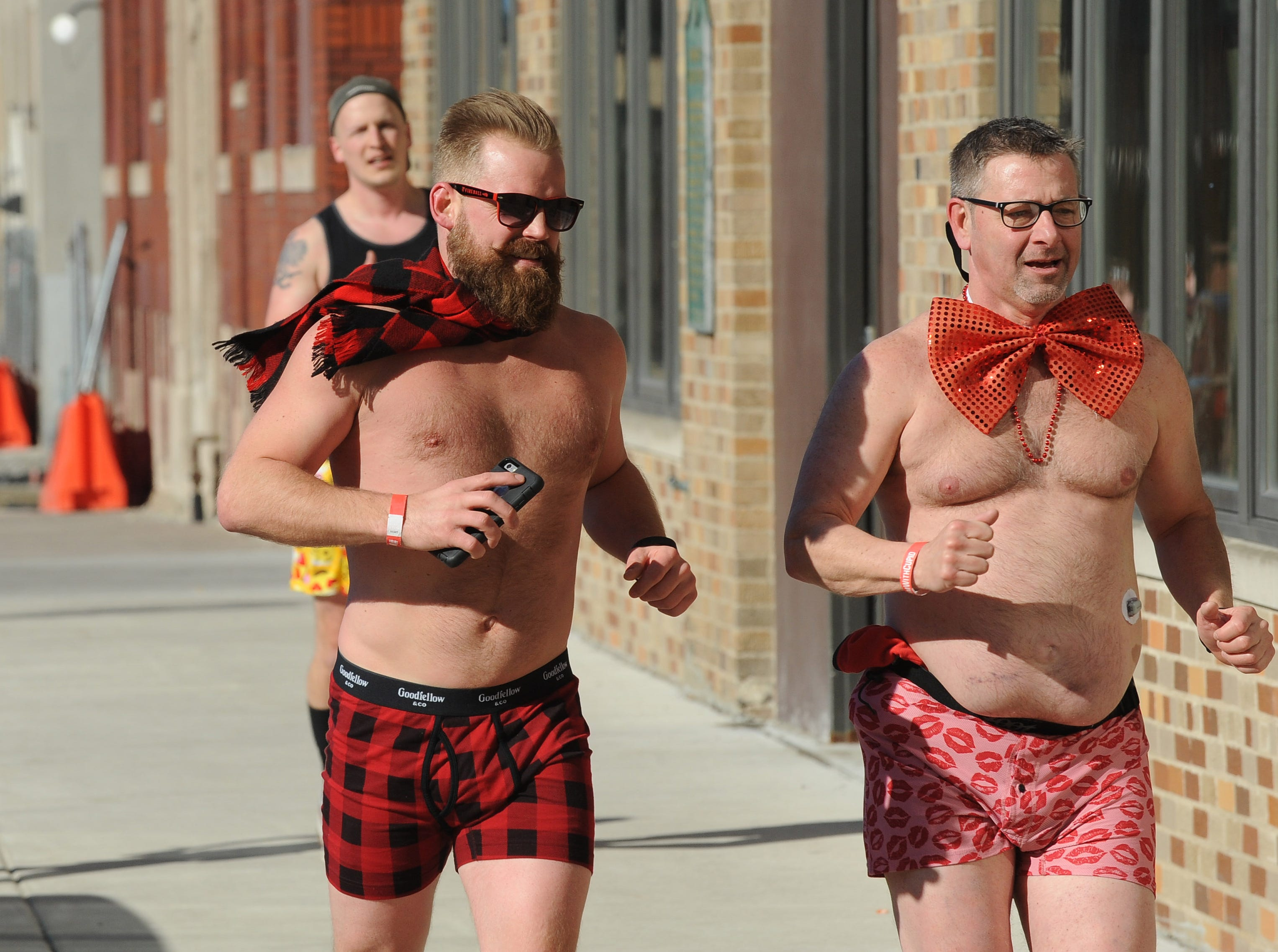 Boxers and bow ties hit the streets around the The Fillmore Detroit for Cupid's Undie Run.