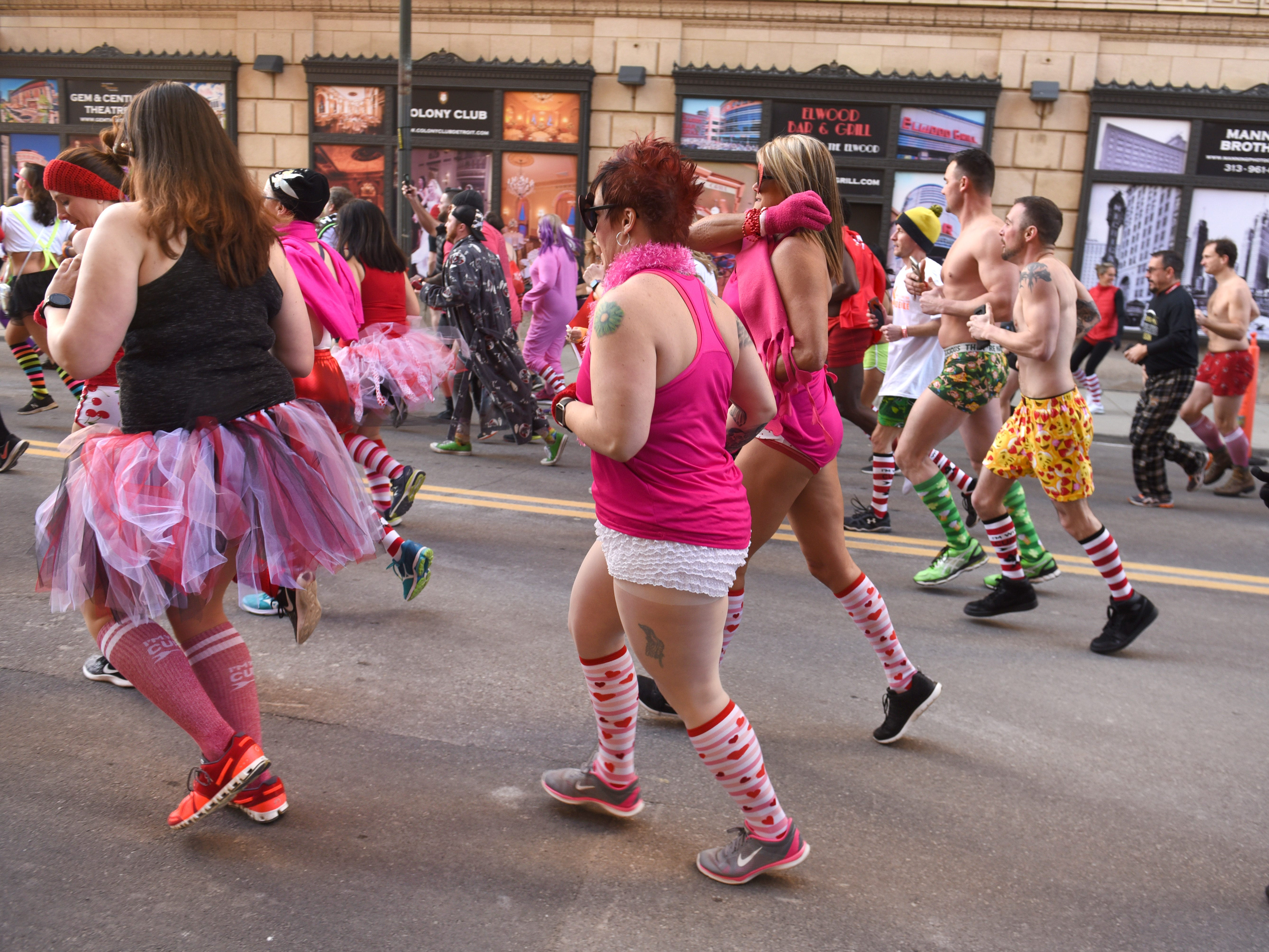 Participants wore multicolored sox at the start of the Cupid's Undie Run.