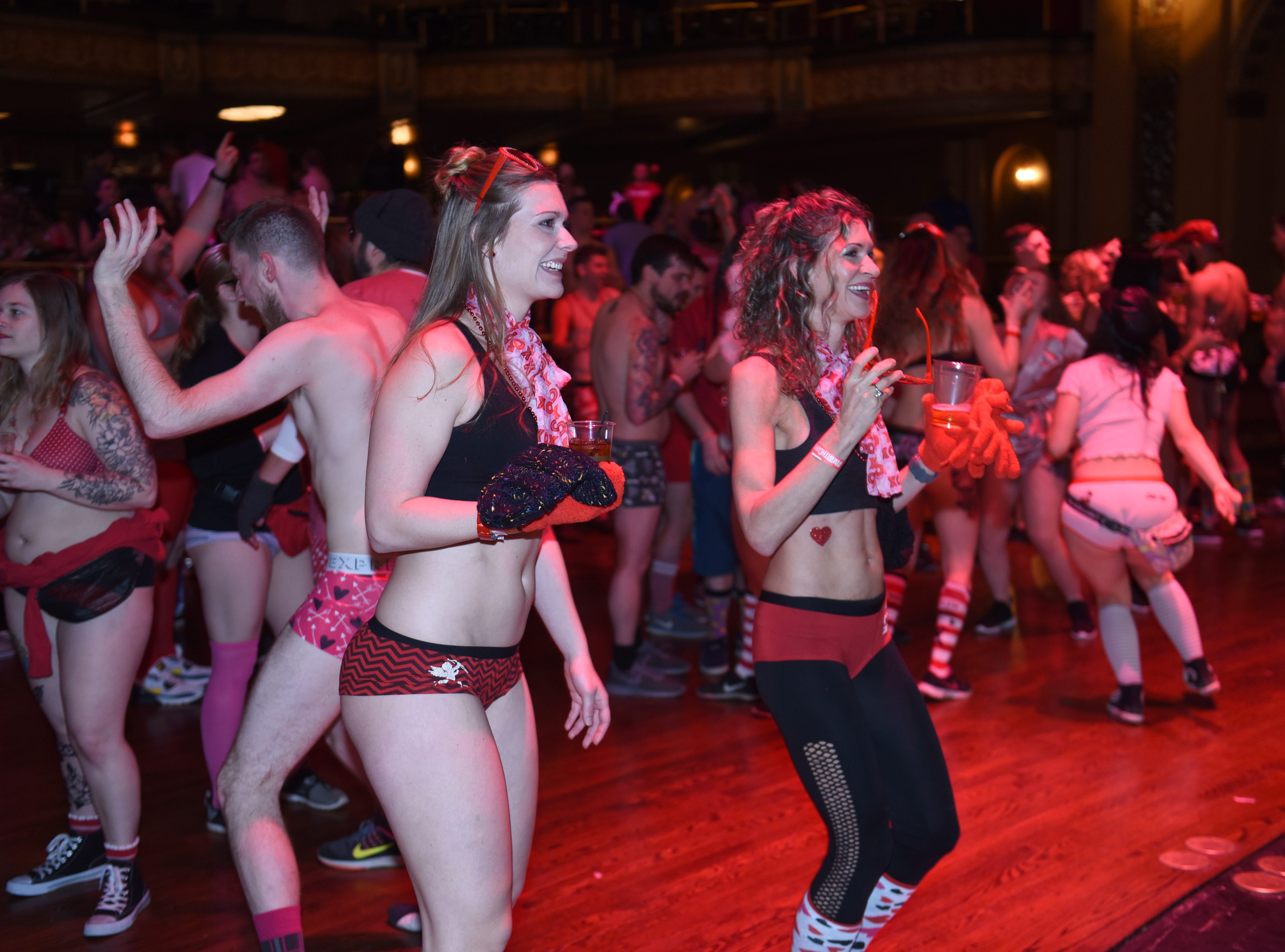 Participants party at The Fillmore Detroit for Cupid's Undie Run on Saturday, February 9, 2019.