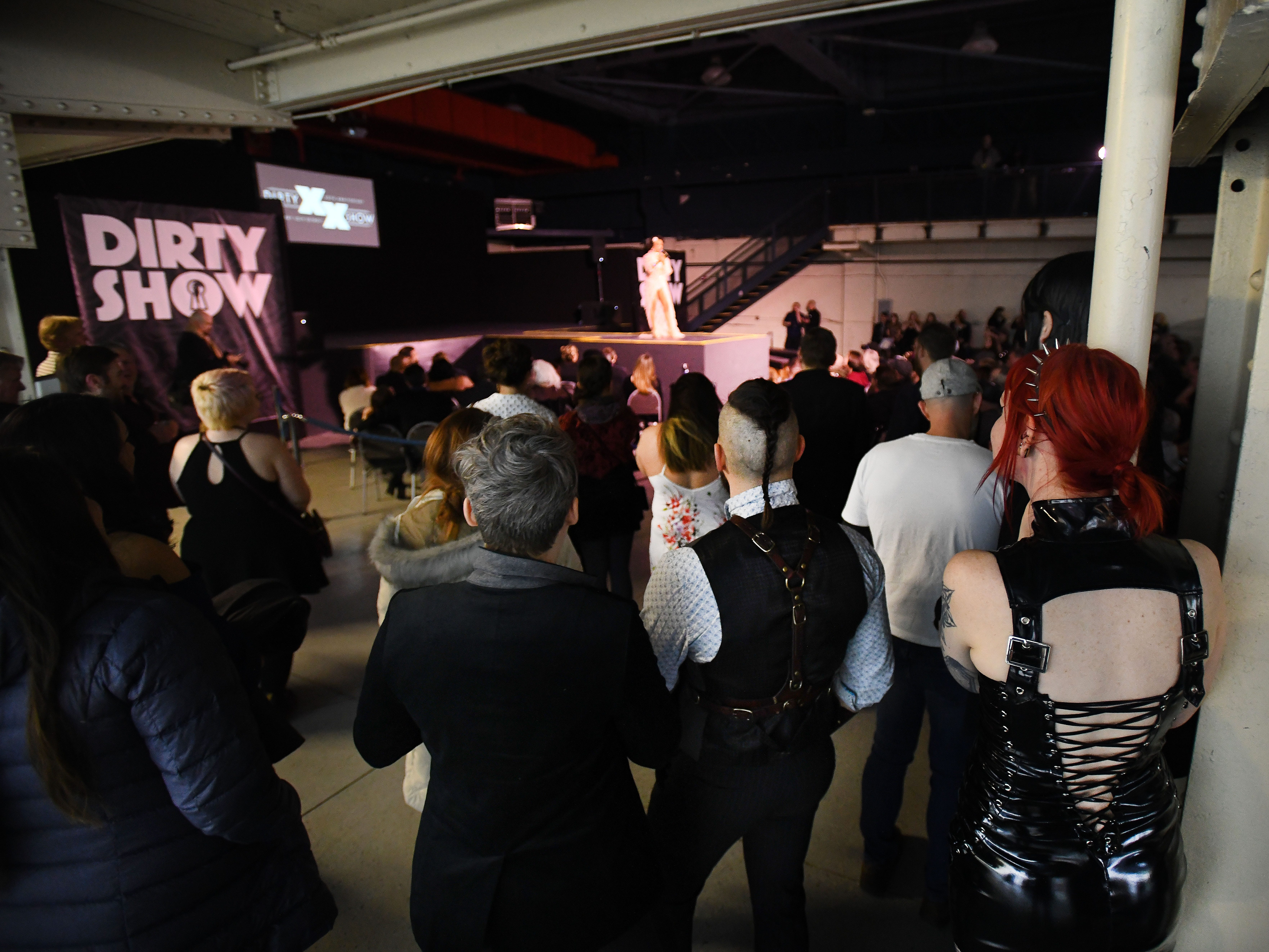 A crowd gathers for The 20th anniversary of the 'The Dirty Show', an erotic art and stage show at the Russell Industrial Complex in Detroit, Michigan on February 8, 2019.