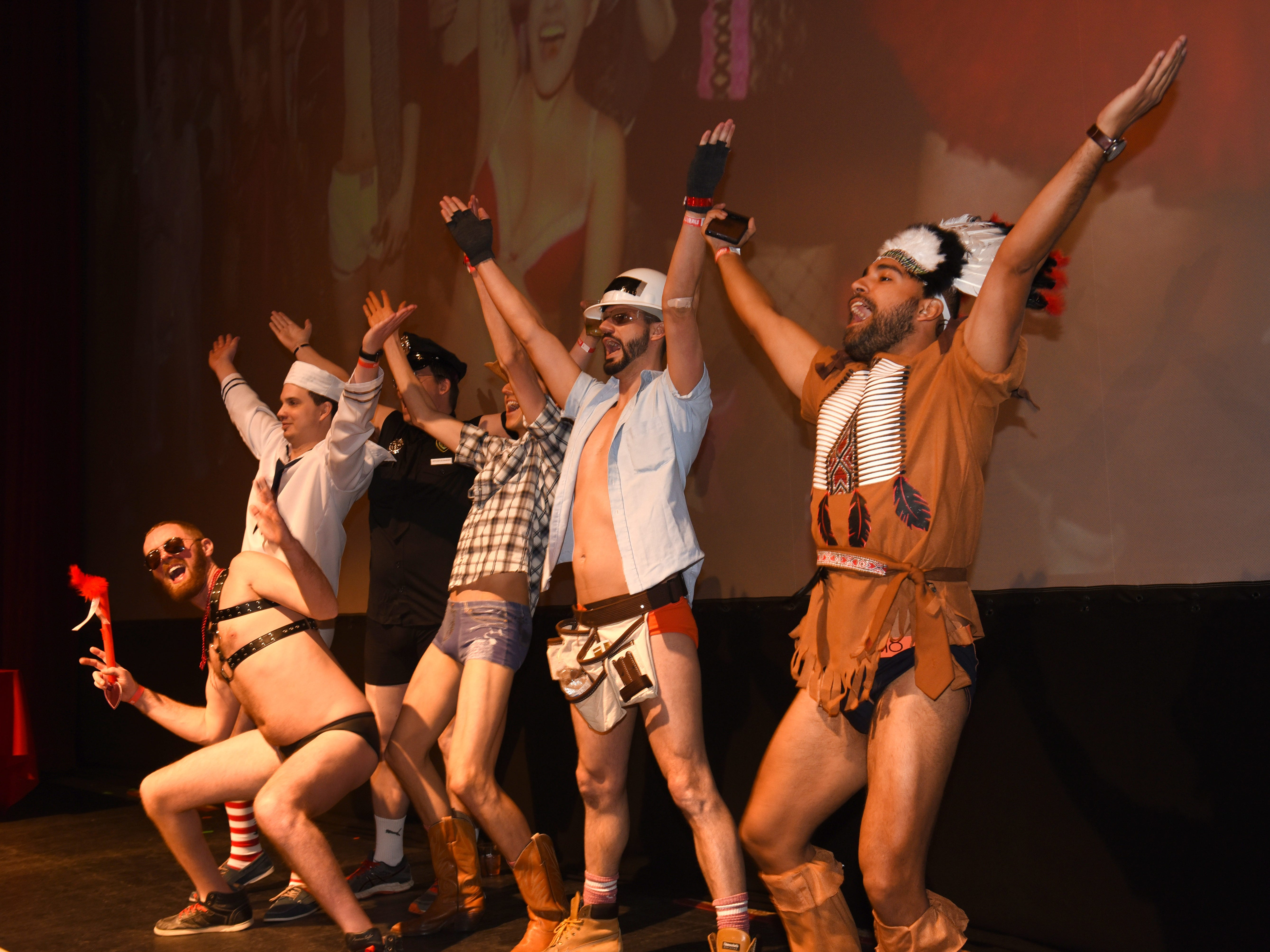 Participants dance to the Village People song Y.M.C.A  at The Fillmore Detroit for CupidÕs Undie Run.