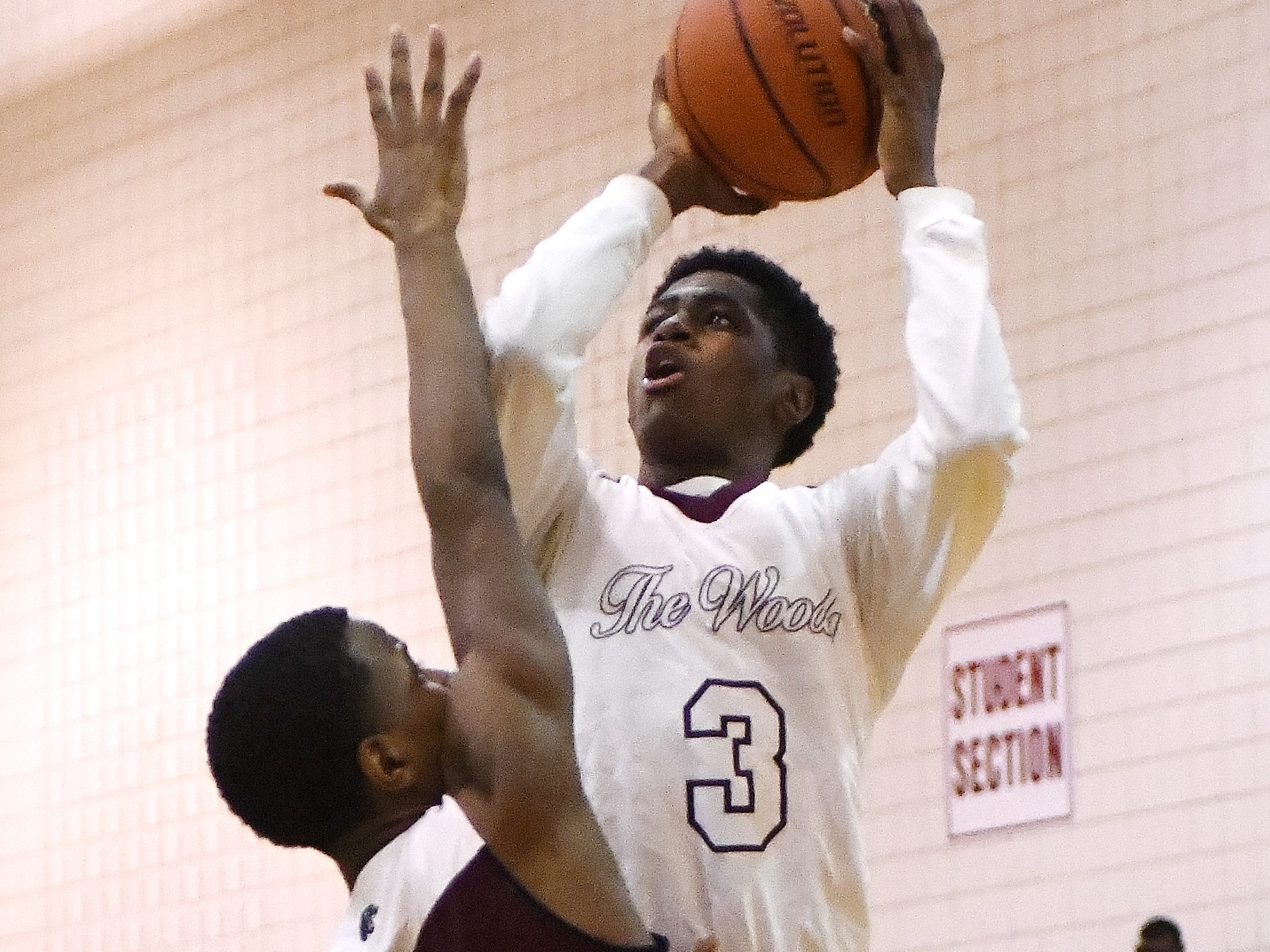 Harper Woods' Curtis Jackson puts up a shot over River Rouge's Bralin Toney in the first half.