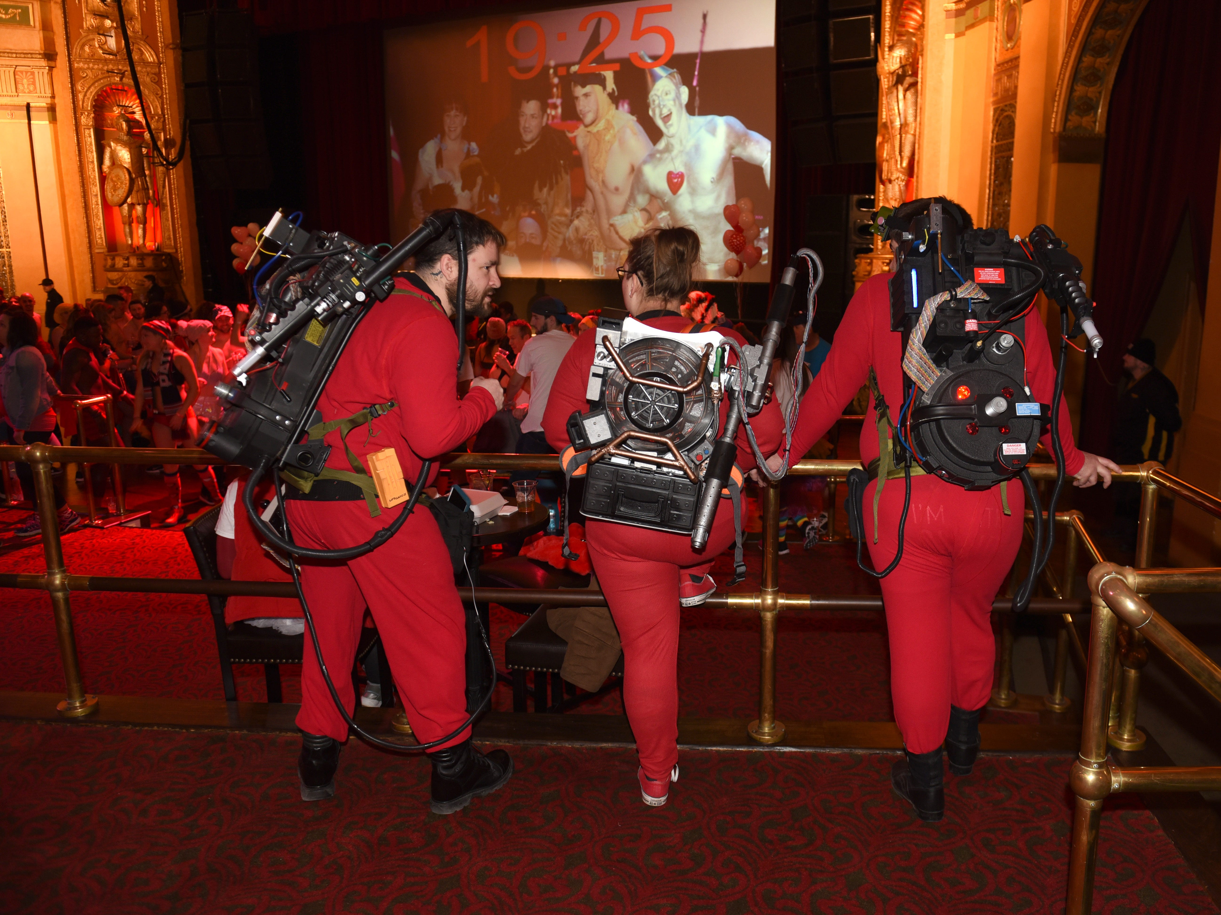 Member of the 313 Ghostbusters wore their proton packs at The Fillmore Detroit for Cupid's Undie Run.