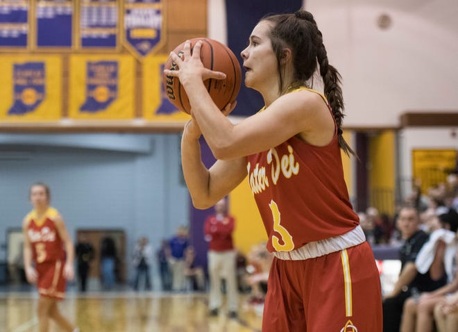 Mater Dei's Hannah Winiger takes a 3-point shot during the IHSAA Class 2A regional against the South Ripley Raiders at Paoli on Saturday.