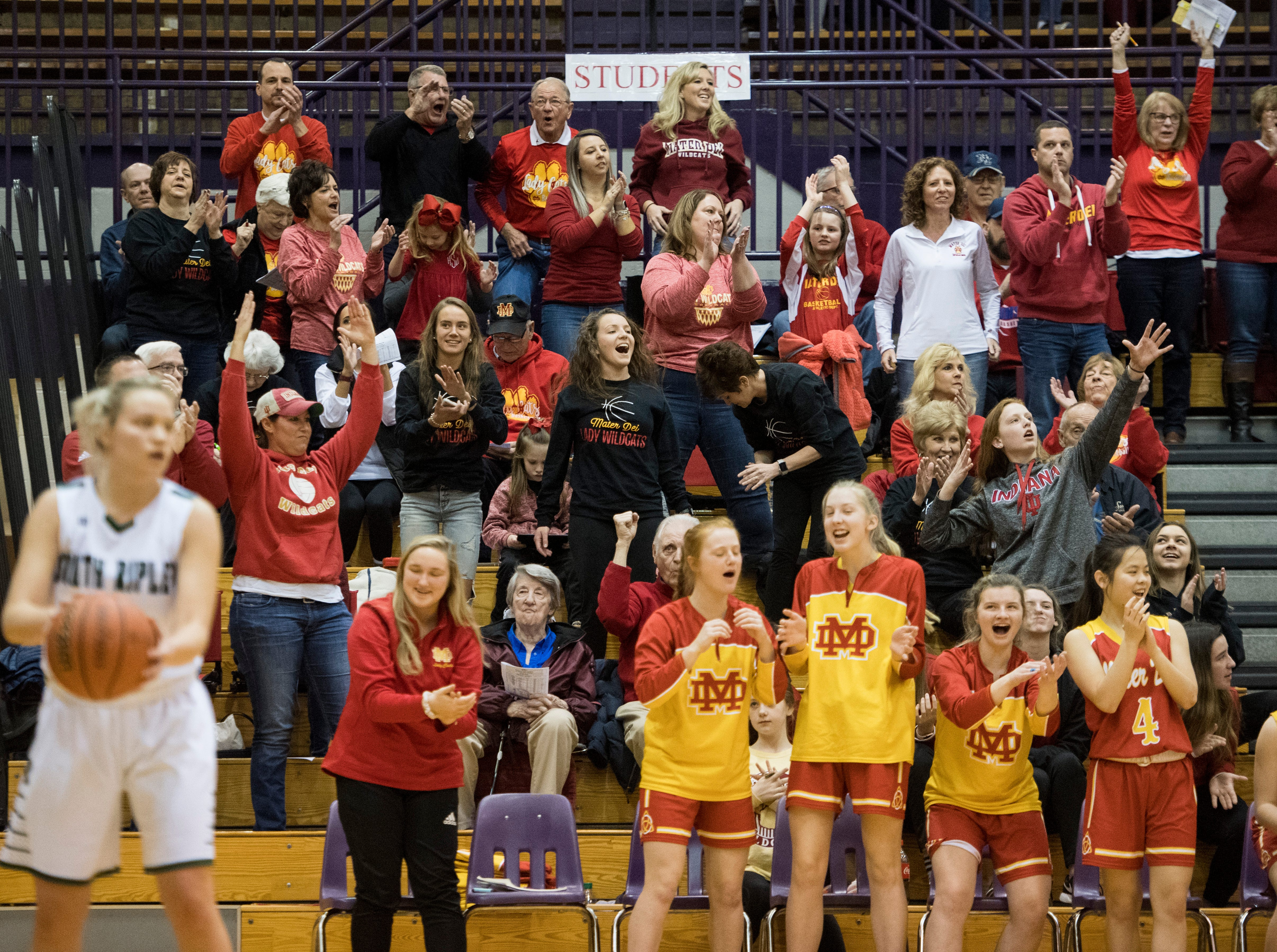 The Mater Dei fan sections erupts as the Wildcats makes another basket during the IHSAA Class 2A Girls' Basketball Regional #12 game against the South Ripley Raiders at Paoli Jr. Sr. high school Saturday, Feb. 9, 2019. Mater Dei Won, 39-23.