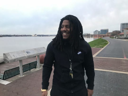 Delvin Mitchell is pictured during a walk along the Ohio Riverfront in downtown Evansville with his girlfriend Mariah Esters in April 2018.