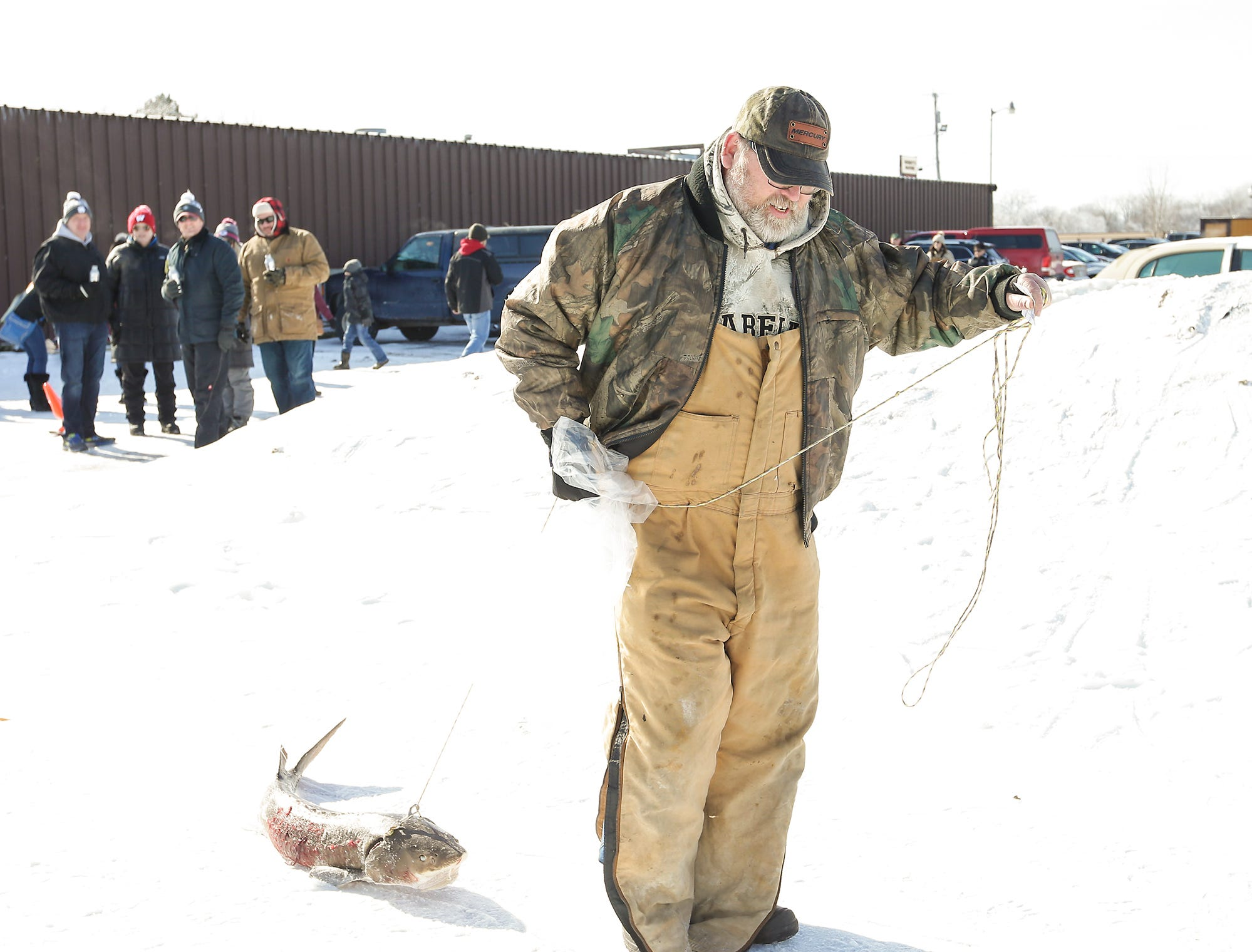 Steve Herzberg of Oshkosh drags a 27 pound sturgeon he speared away from a weighing station Saturday, February 9, 2019 at Wendt's on the Lake between Fond du Lac and Oshkosh. Sturgeon spearing season runs from February 9, 2019 through February 24, 2019 on Lake Winnebago or until any