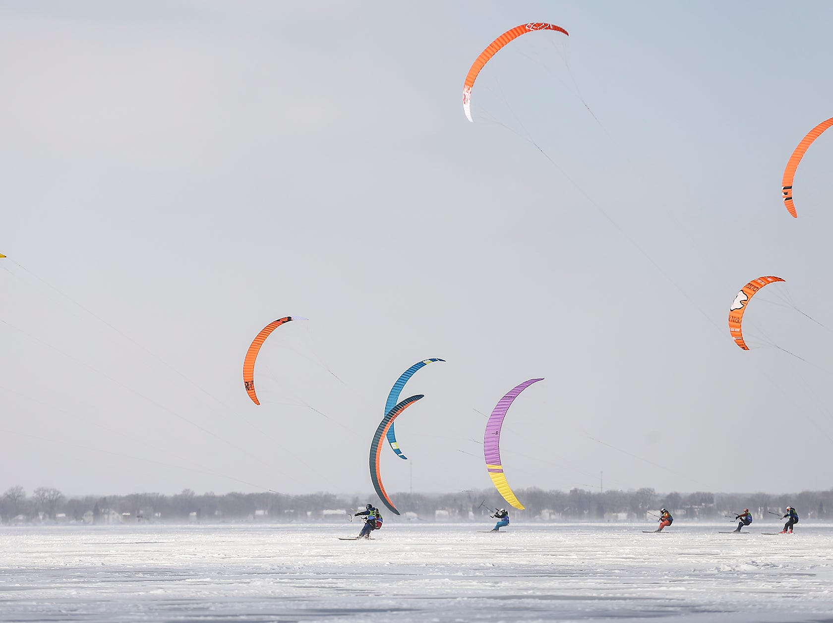 Ice sailers race Friday, February 8, 2019 on Lake Winnebago during Sturgeon Spectacular. Sturgeon Spectacular is a weeklong celebration of the lake sturgeon spearing season and includes events on and off the ice in the Fond du Lac area. Doug Raflik/USA TODAY NETWORK-Wisconsin
