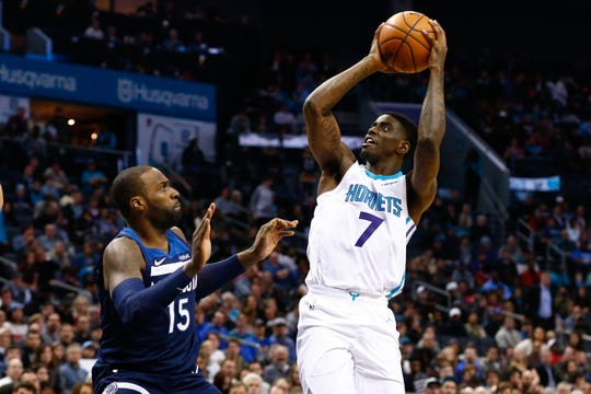 Charlotte Hornets shooting guard Dwayne Bacon is averaging 4.6 points and 1.6 rebounds per game this season.