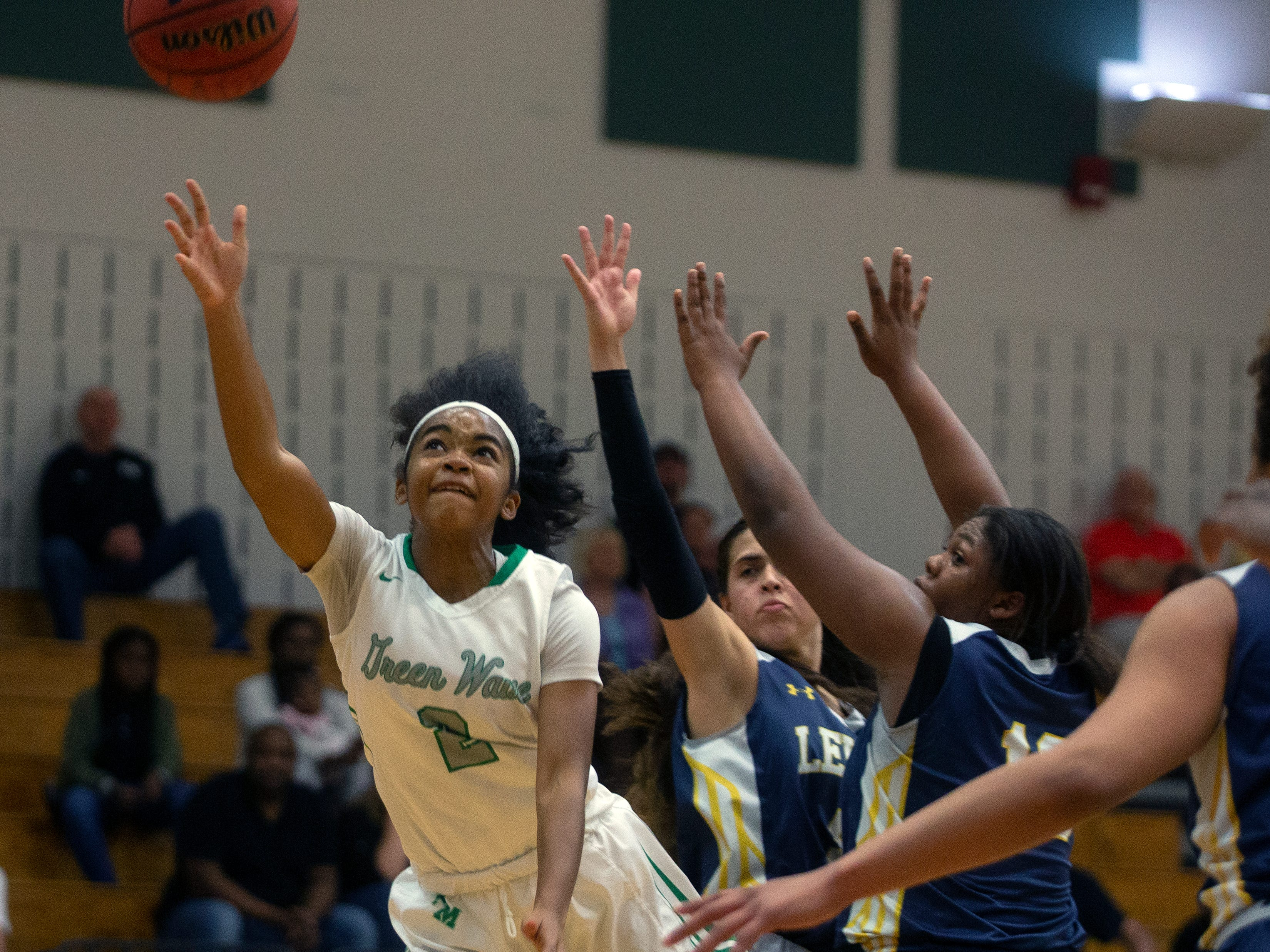 Fort Myers's Janay Outten attempts a shot against Lehigh, Friday, Feb. 8, 2019, at Dunbar High School in Fort Myers.
