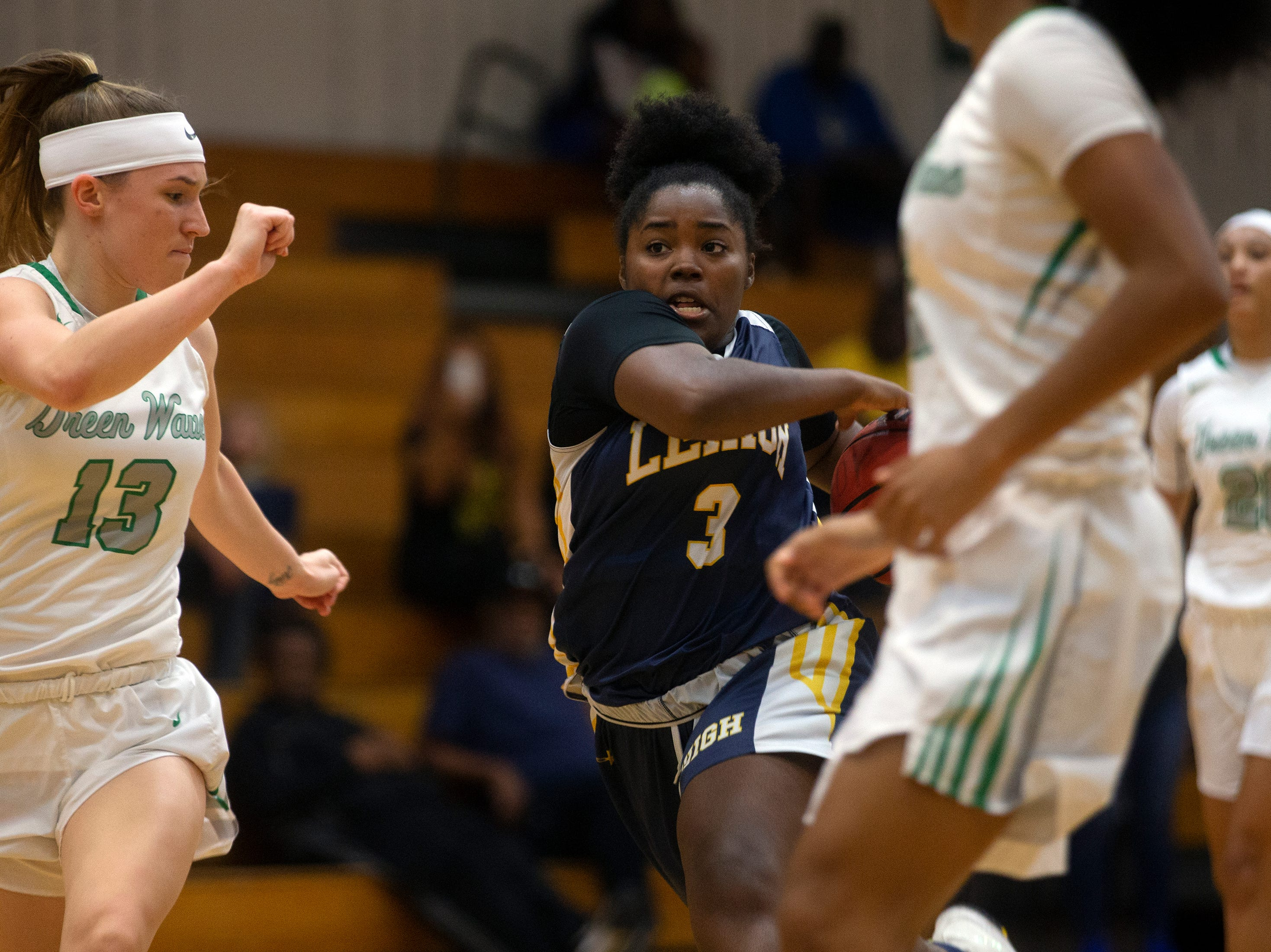 Lehigh's Zaniyah Thomas drives down the lane against Fort Myers, Friday, Feb. 8, 2019, at Dunbar High School in Fort Myers.