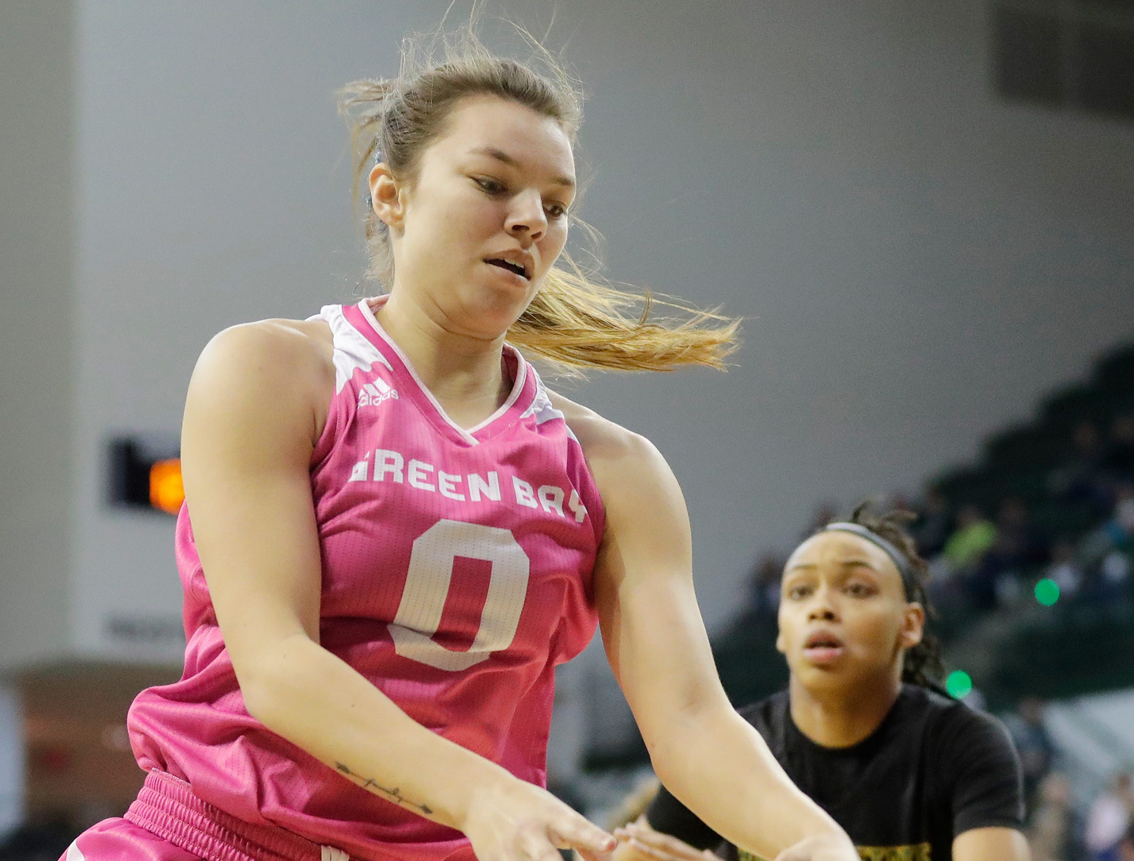 Green Bay Phoenix guard Hailey Oskey (0) receives a pass against the Wright State Raiders in a Horizon League women's basketball game at the Kress Center on Saturday, February 9, 2019 in Green Bay, Wis.