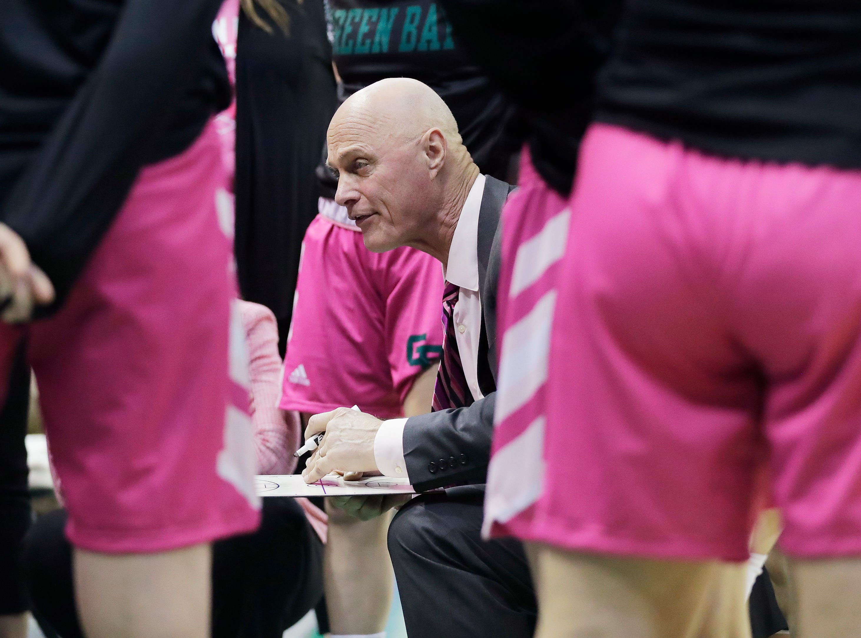 Green Bay Phoenix head coach Kevin Borseth talks during a timeout in the second half against the Wright State Raiders in a Horizon League women's basketball game at the Kress Center on Saturday, February 9, 2019 in Green Bay, Wis.