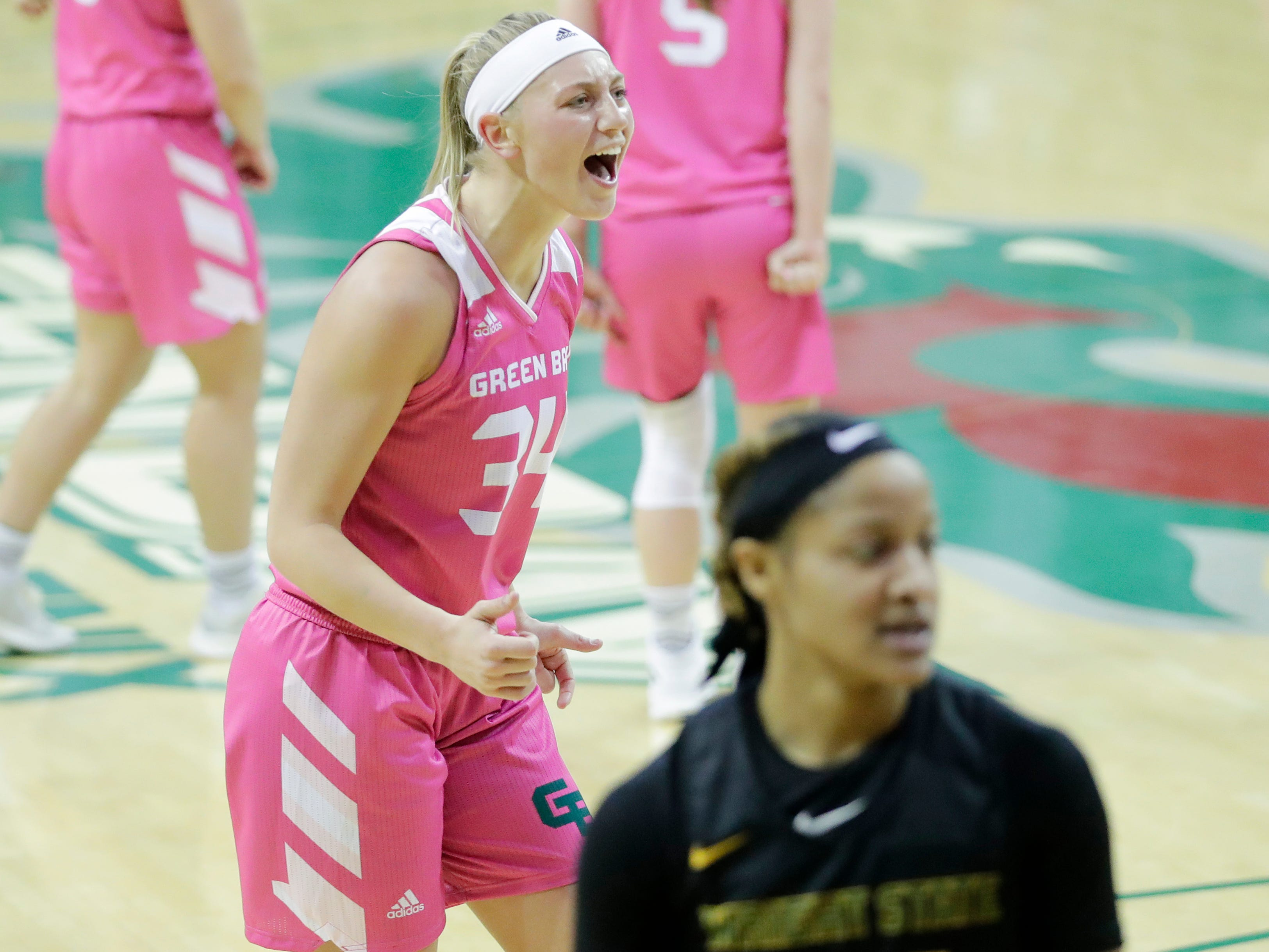 Green Bay Phoenix forward Carly Mohns (34) reacts during the 2nd quarter against the Wright State Raiders in a Horizon League women's basketball game at the Kress Center on Saturday, February 9, 2019 in Green Bay, Wis.