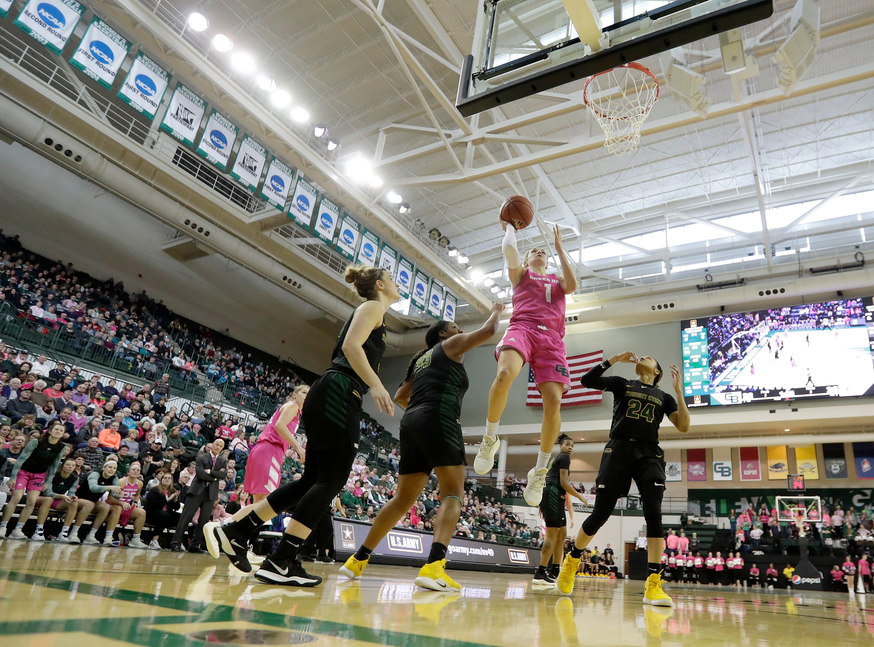 Green Bay Phoenix guard Jen Wellnitz (1) shoots against the Wright State Raiders in a Horizon League women's basketball game at the Kress Center on Saturday, February 9, 2019 in Green Bay, Wis.
