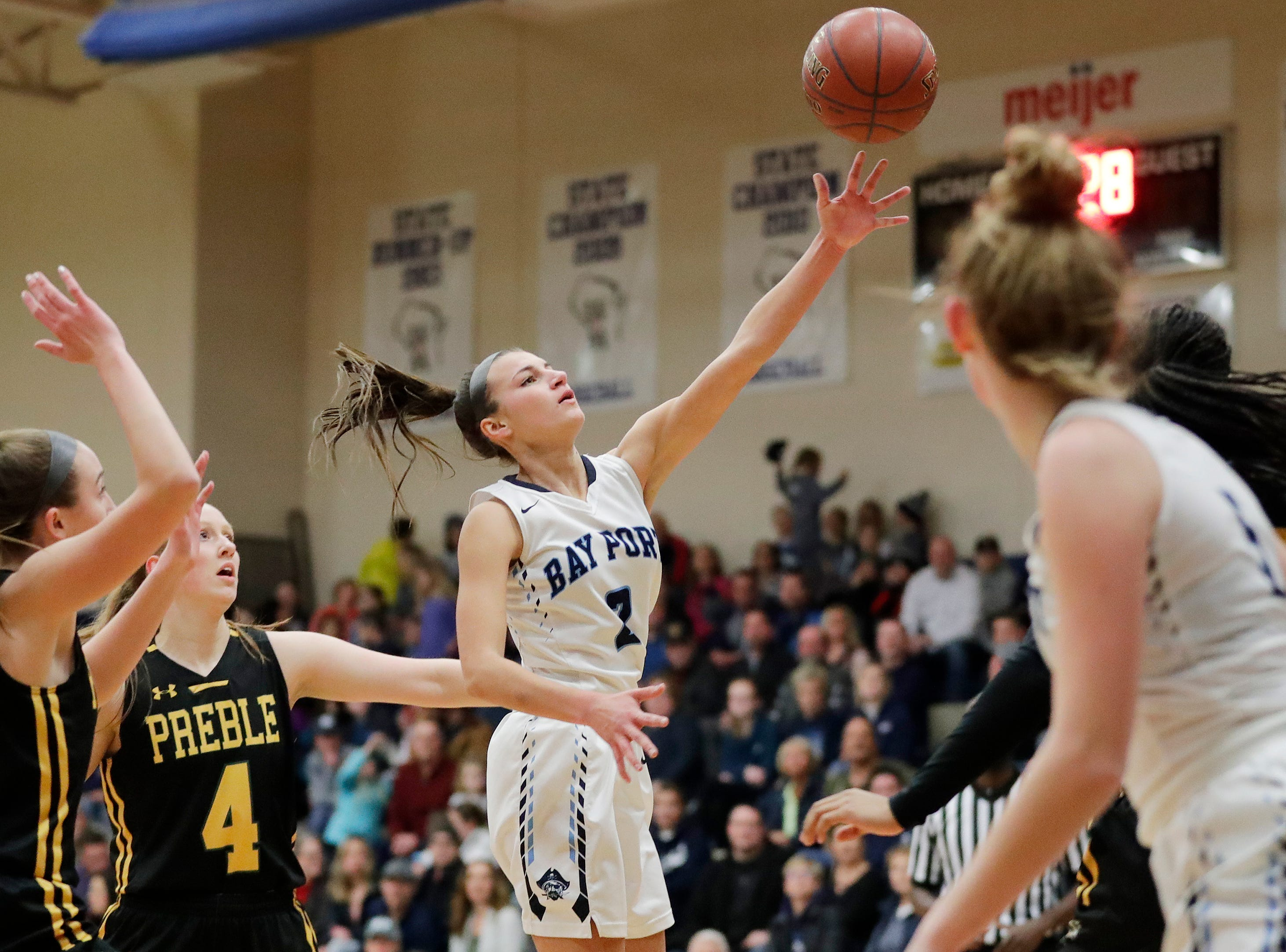 Bay Port's Grace Krause (2) shoots against Green Bay Preble in a FRCC girls basketball game at Bay Port high school on Friday, February 8, 2019 in Suamico, Wis.