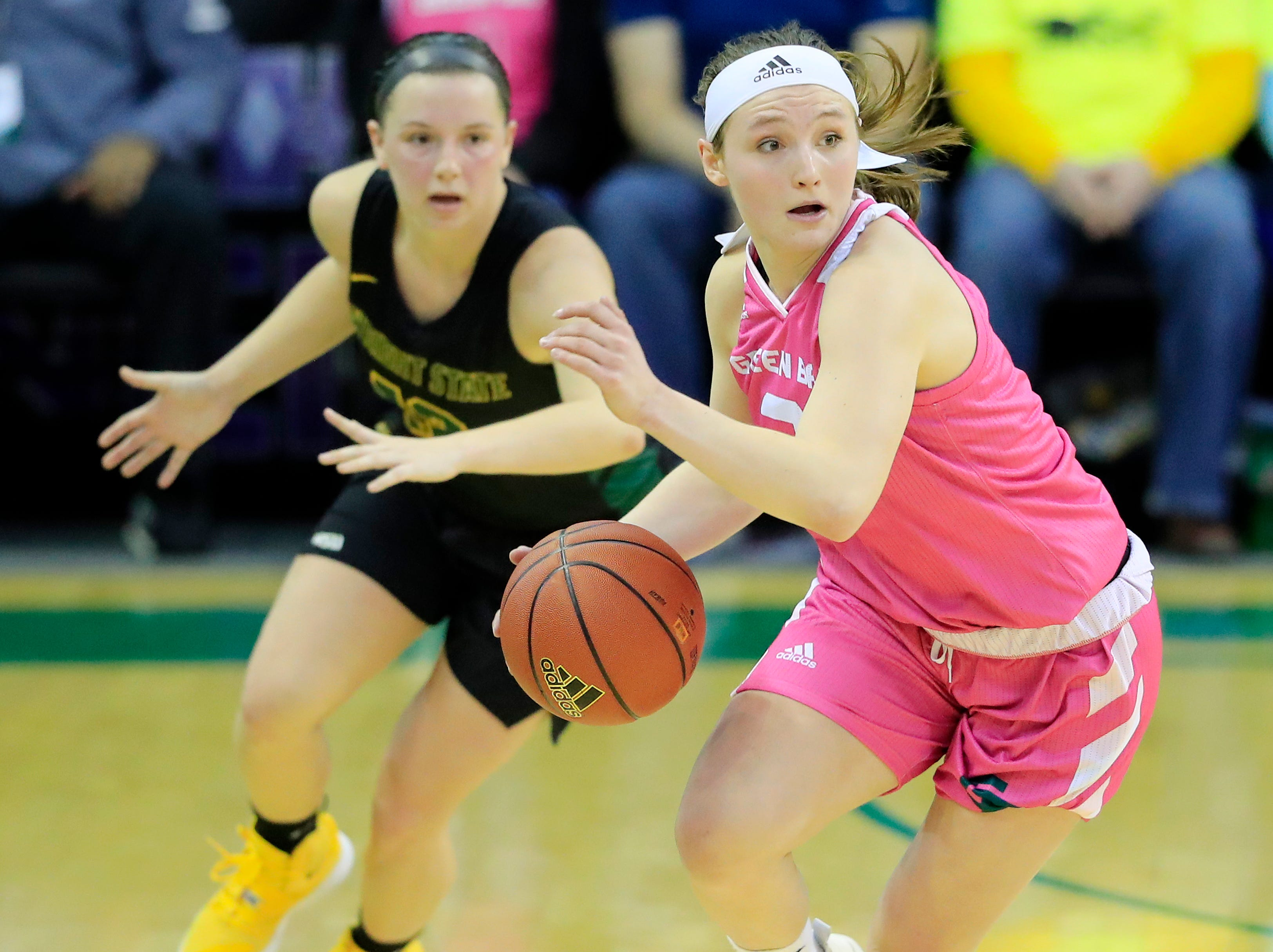 Green Bay Phoenix guard Frankie Wurtz (3) gets a steal against the Wright State Raiders in a Horizon League women's basketball game at the Kress Center on Saturday, February 9, 2019 in Green Bay, Wis.