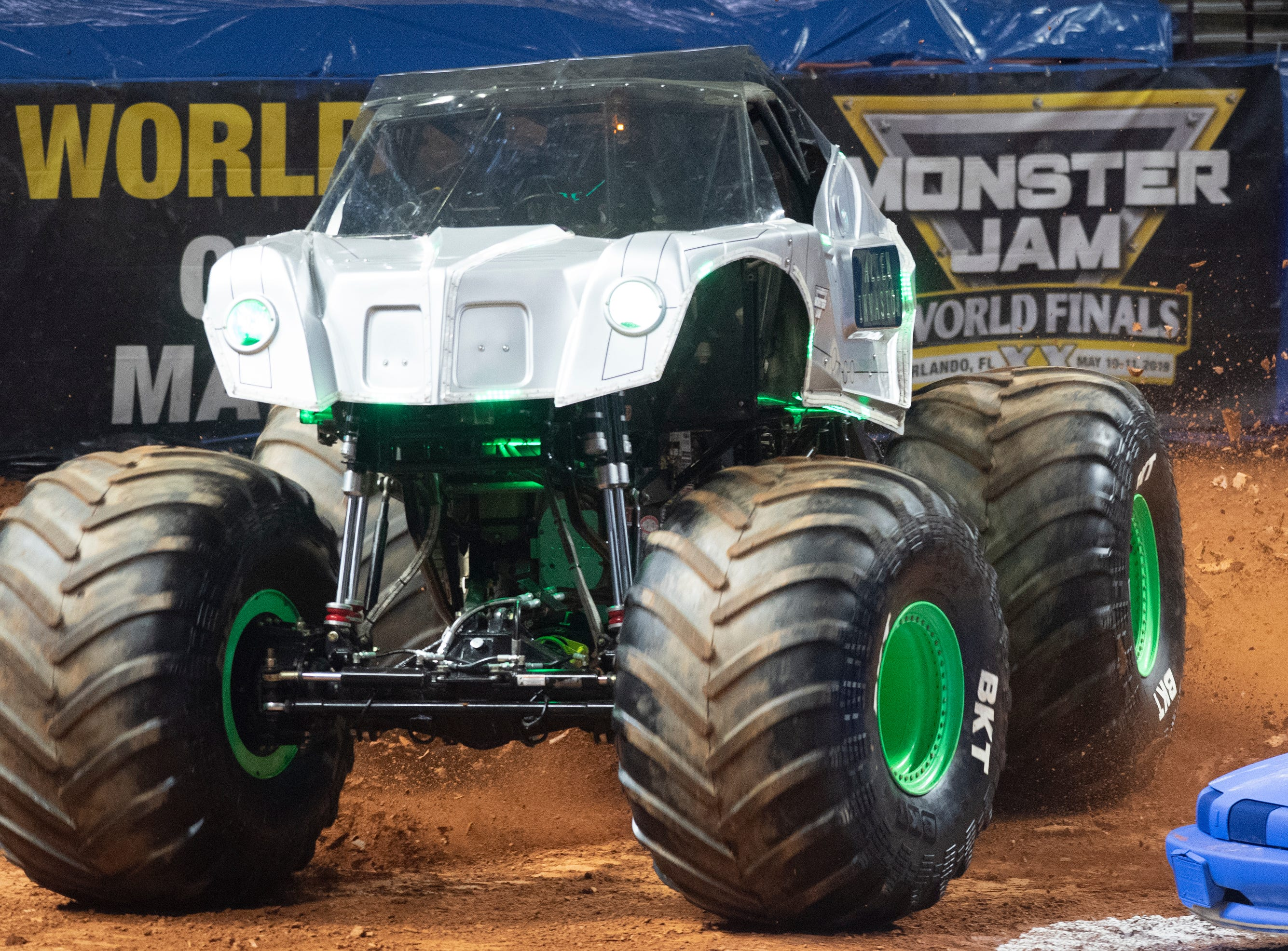 A driver competes in Alien Invasion during the Monster Jam Racing competition at Bon Secours Wellness Arena Friday, Feb. 8, 2019.
