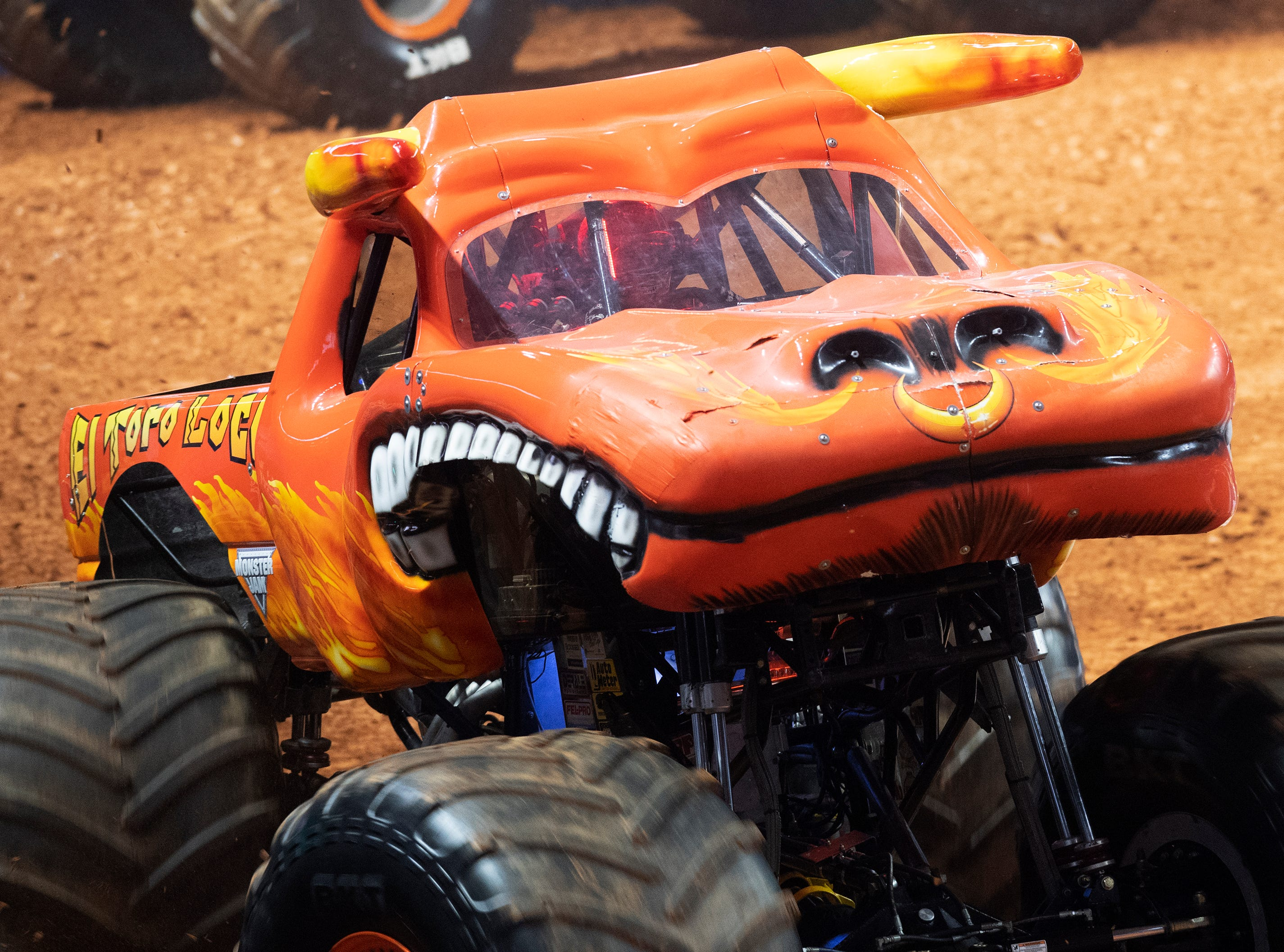 A driver competes in El Toro Loco during the Monster Jam Racing competition at Bon Secours Wellness Arena Friday, Feb. 8, 2019.