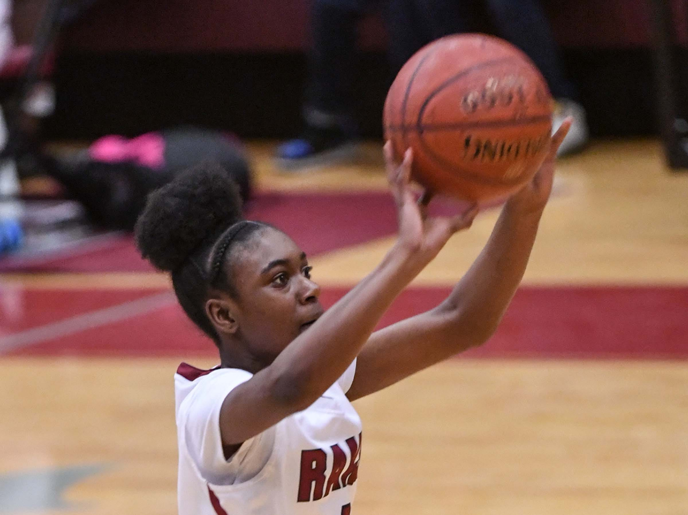 Westside freshman Aziyah Bell(4) shoots during the first quarter at Westside High School in Anderson on Friday.