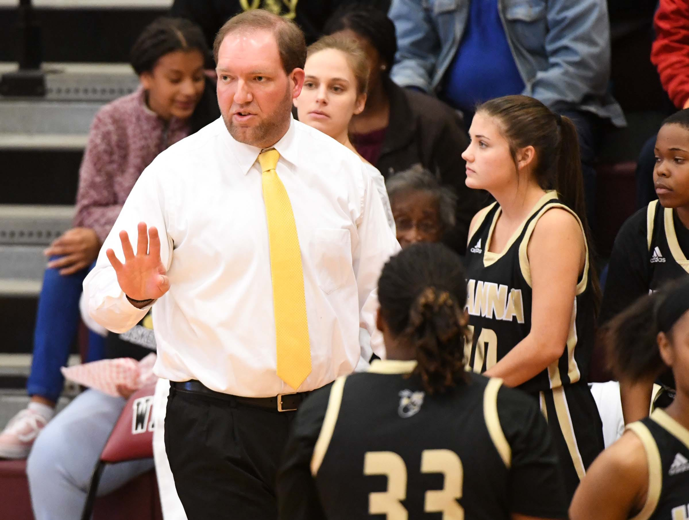 TL Hanna head coach Glenn Elrod during the first quarter at Westside High School in Anderson on Friday.