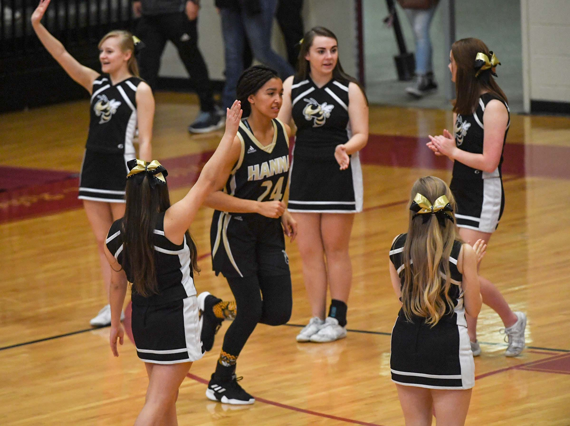 TL Hanna junior Maleia Bracone(24) is introduced before the first quarter at Westside High School in Anderson on Friday.