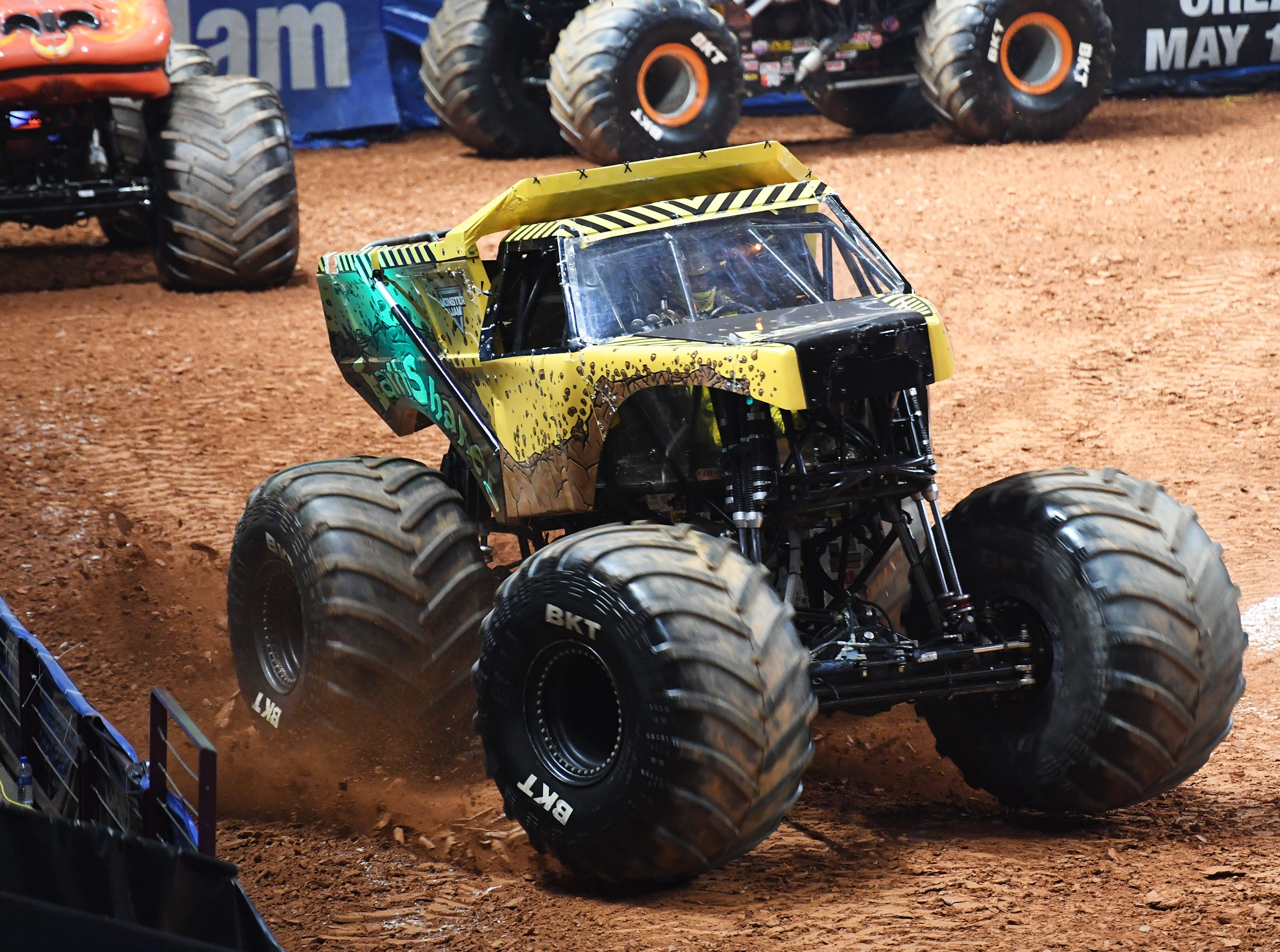 Tristan England drives the Earth Shaker during Monster Jam at Bon Secours Wellness Arena Friday, Feb. 8, 2019.