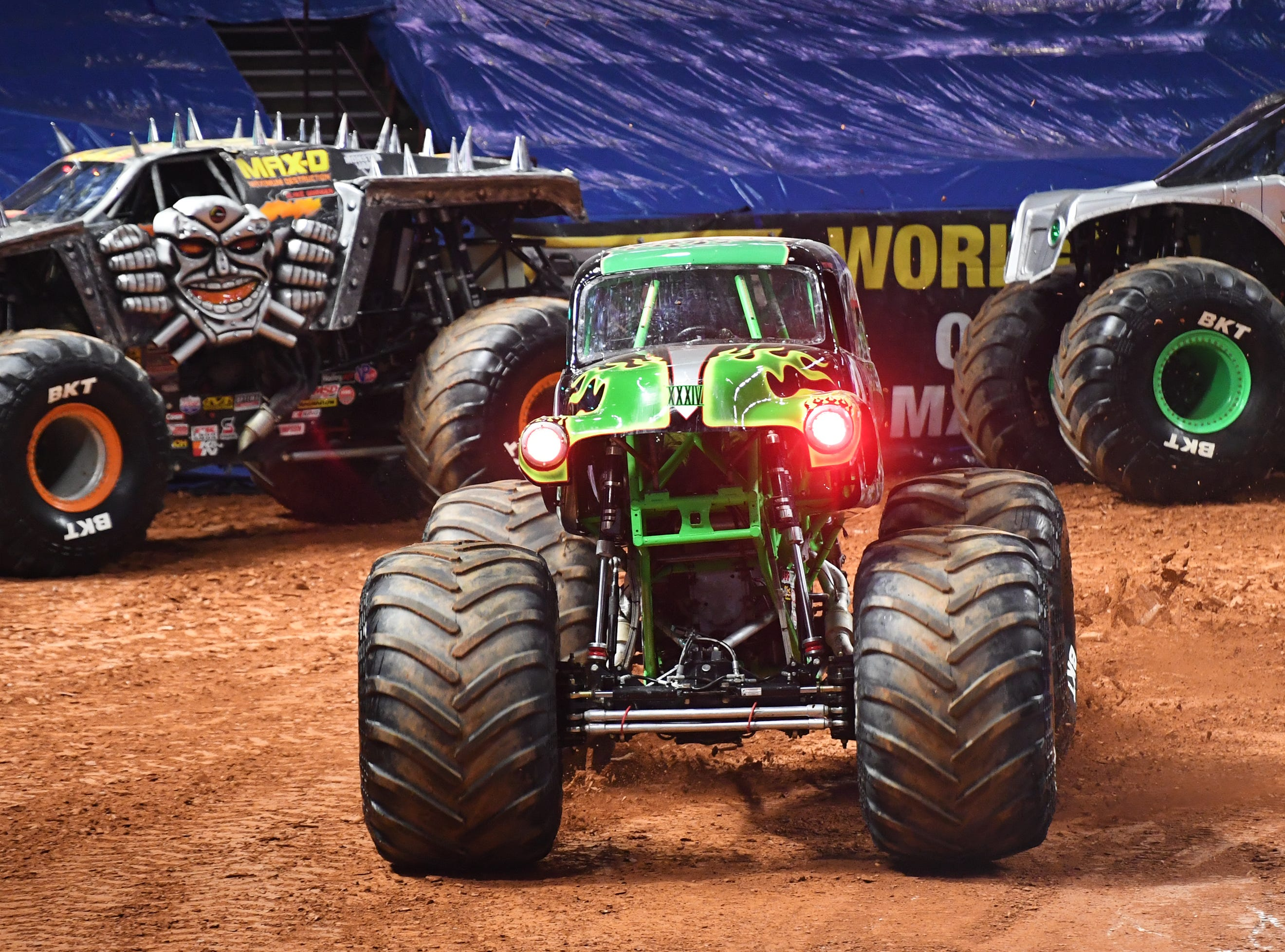 A driver competes in Grave Digger during the Monster Jam Racing competition at Bon Secours Wellness Arena Friday, Feb. 8, 2019.