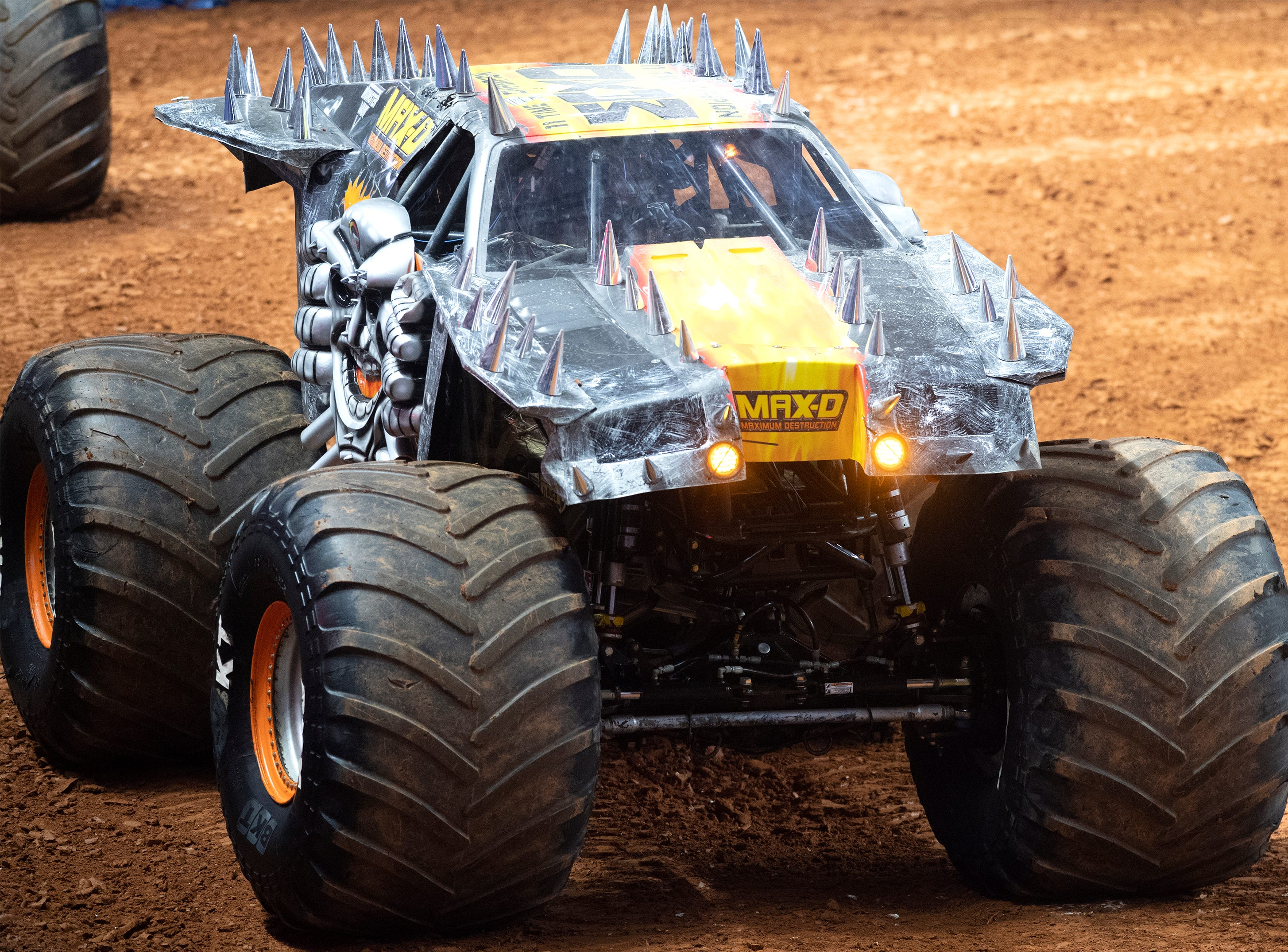 A driver competes in MAX-D during the Monster Jam Racing competition at Bon Secours Wellness Arena Friday, Feb. 8, 2019.