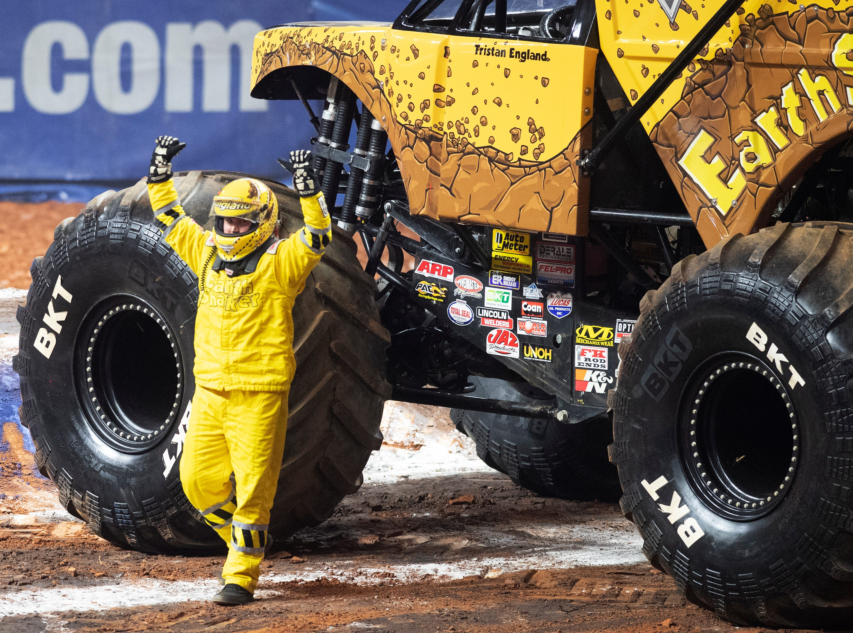 Tristan England won the first round racing in the Earth Shaker during Monster Jam at Bon Secours Wellness Arena Friday, Feb. 8, 2019.