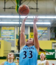Great Falls High's Morgan Sunchild attempts a shot during the girls crosstown basketball game at the CMR Fieldhouse last month.
