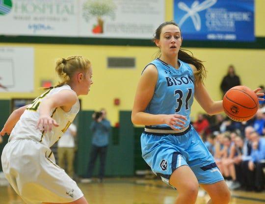 Great Falls High junior Jorgie Hawthorne handles the ball against C.M. Russell High earlier this season.
