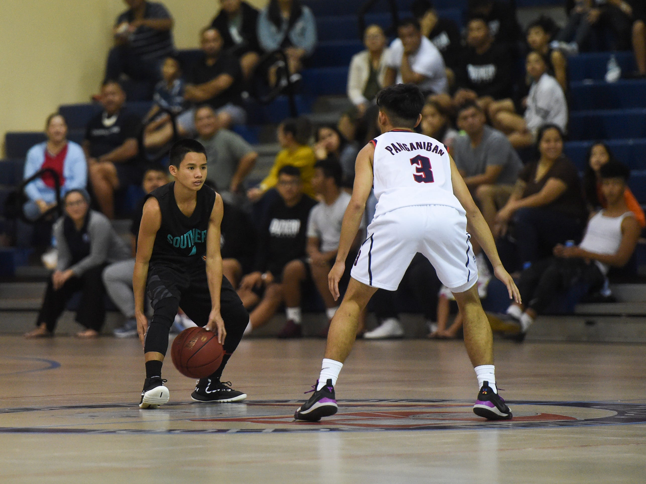 The Okkodo Bulldogs dominated the Southern High Dolphins 81-47 in their IIAAG Boys' Basketball game at their home gym, Feb. 8, 2019.